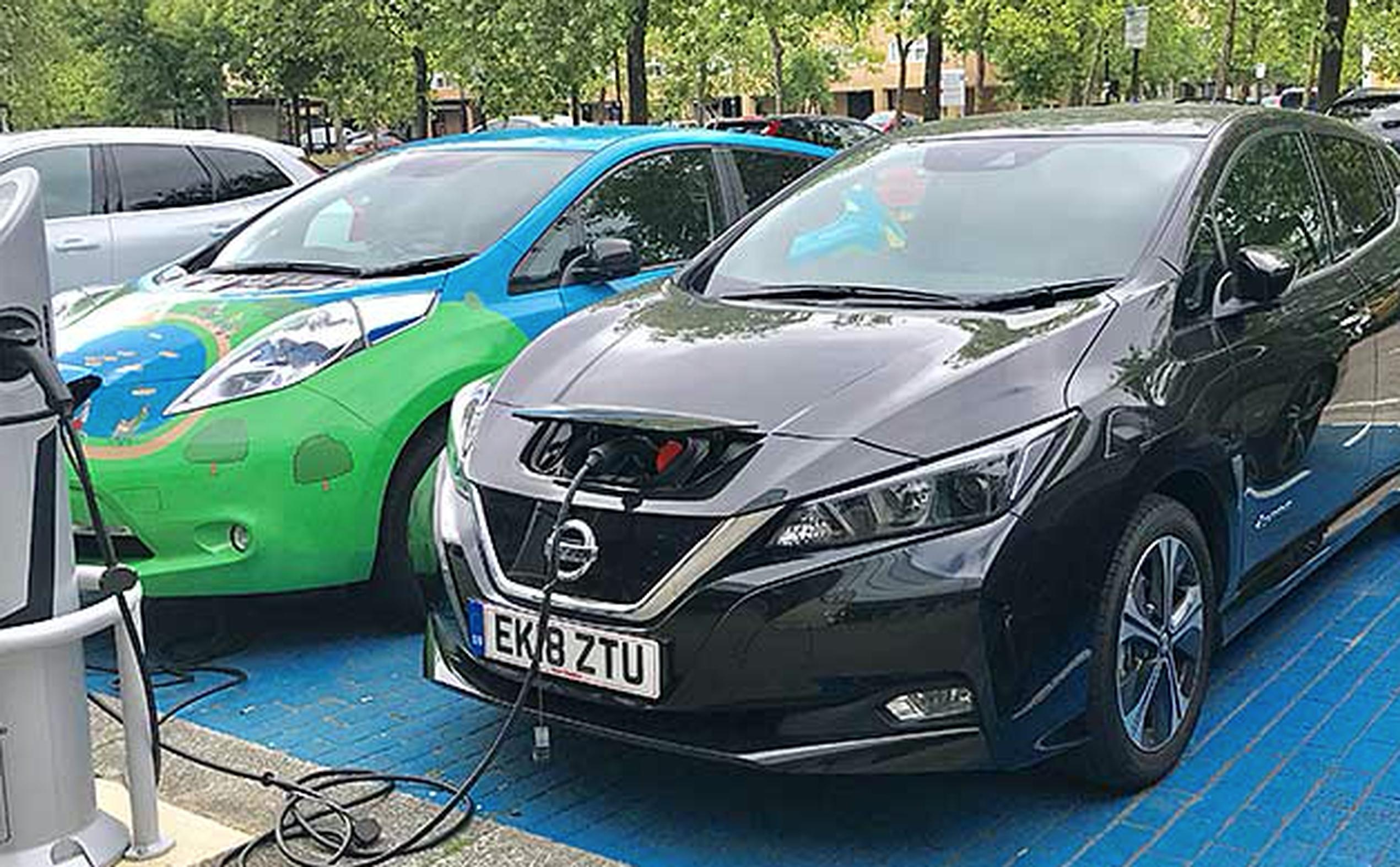 A new Nissan LEAF being re-charged