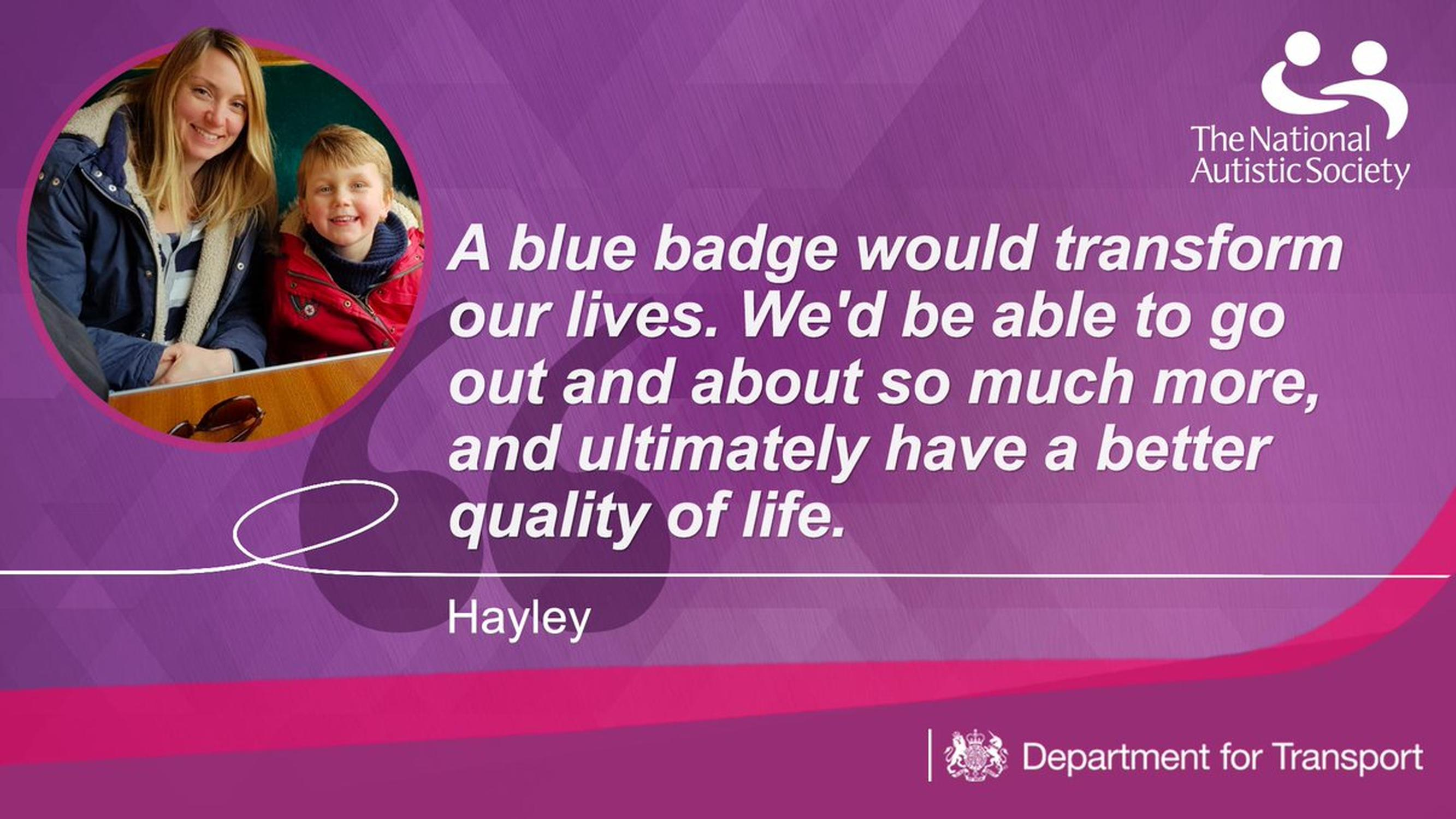 A DfT message about the Blue Badge reforms promoted on Twitter