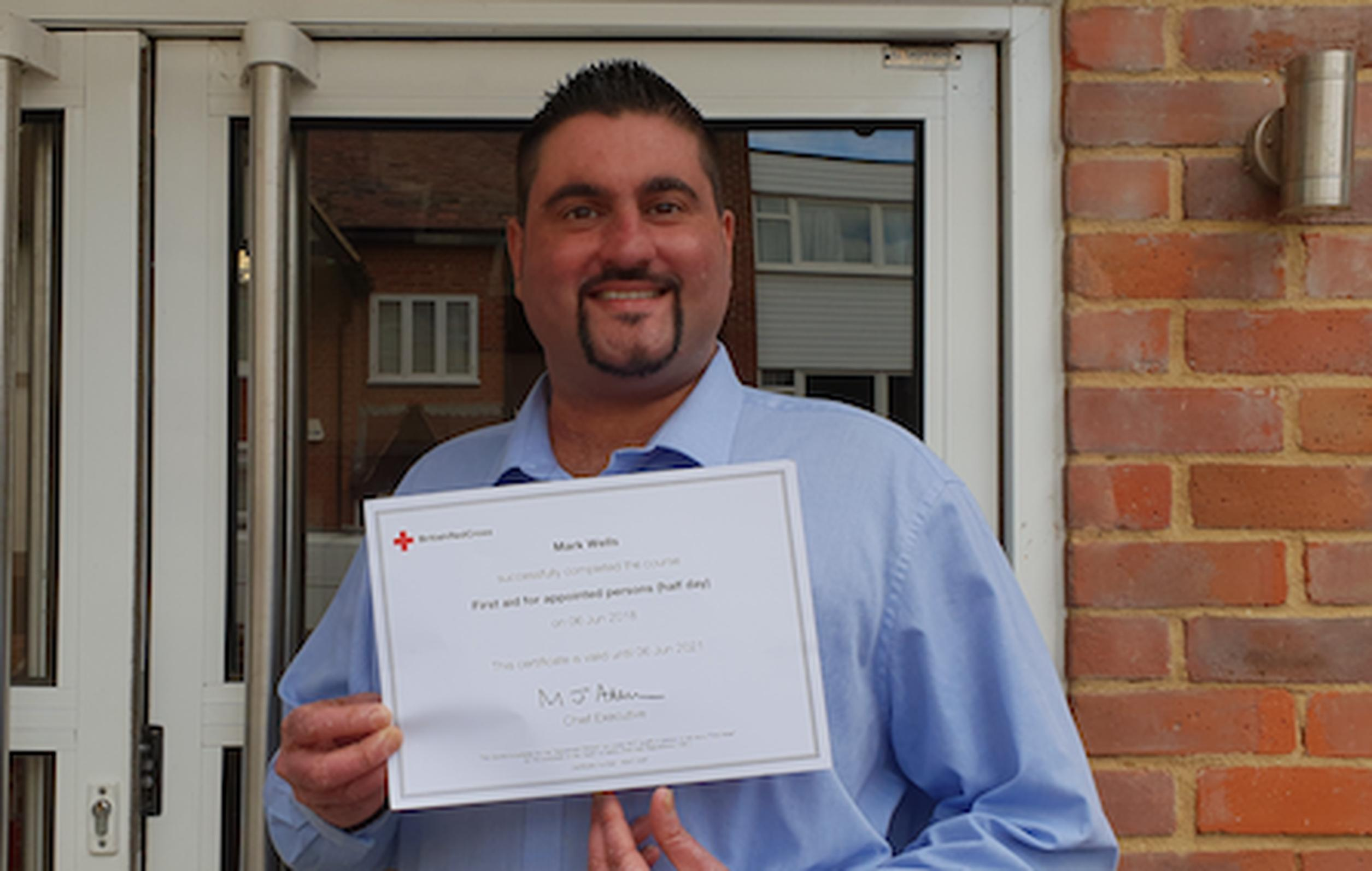Gemini manager Mark Wells with his First Aid certificate