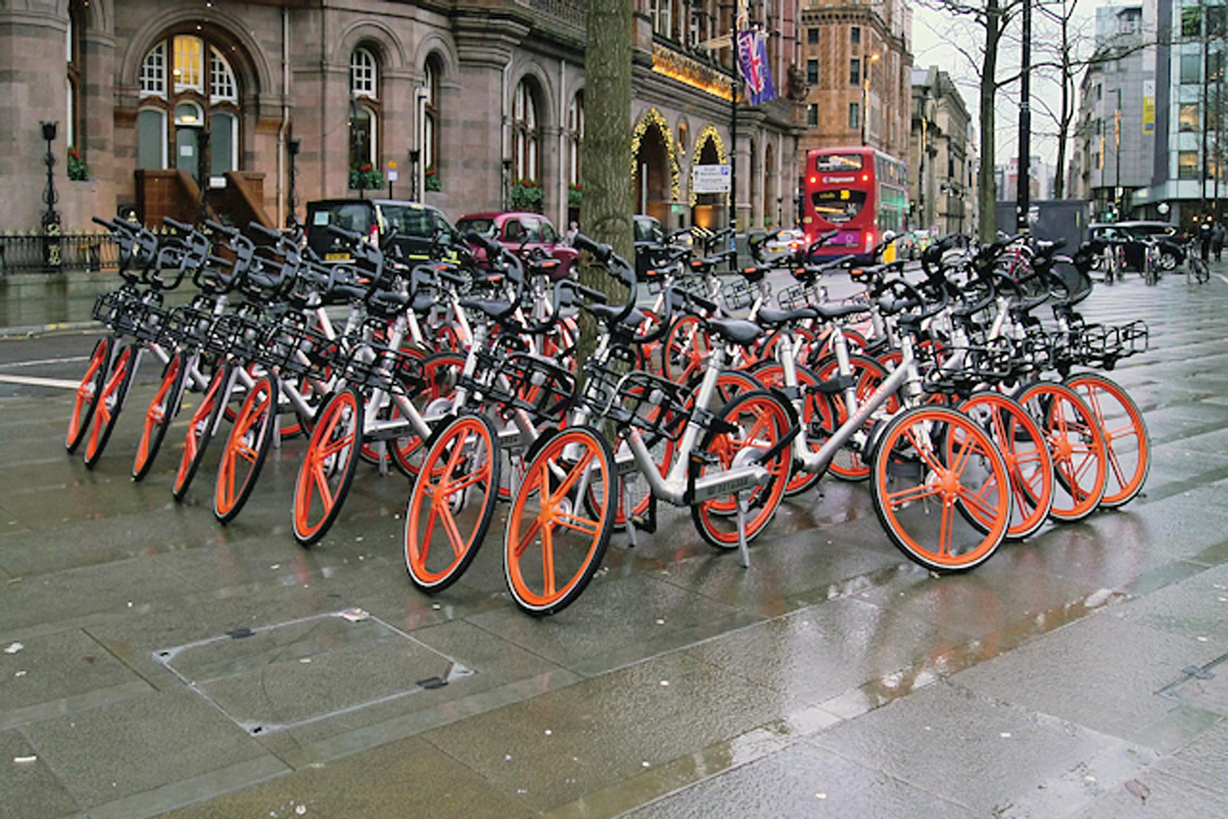 Now you see them… now you don't! Manchester's St Peter's Square before Mobike left