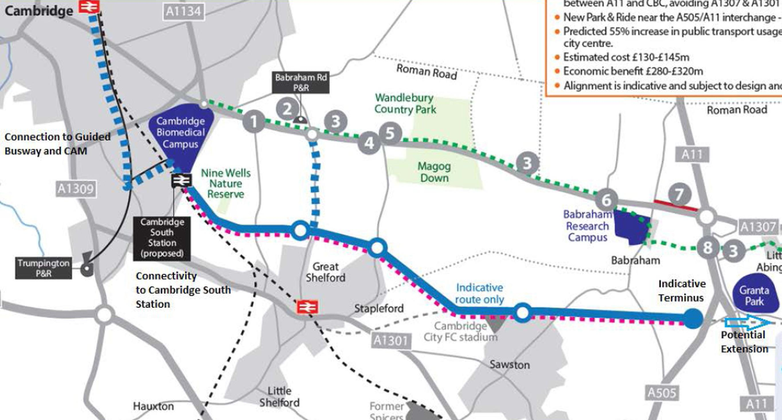 The five mile segregated route (blue) would run south of the A1307 (dotted green) and could join the existing busway in Cambridge