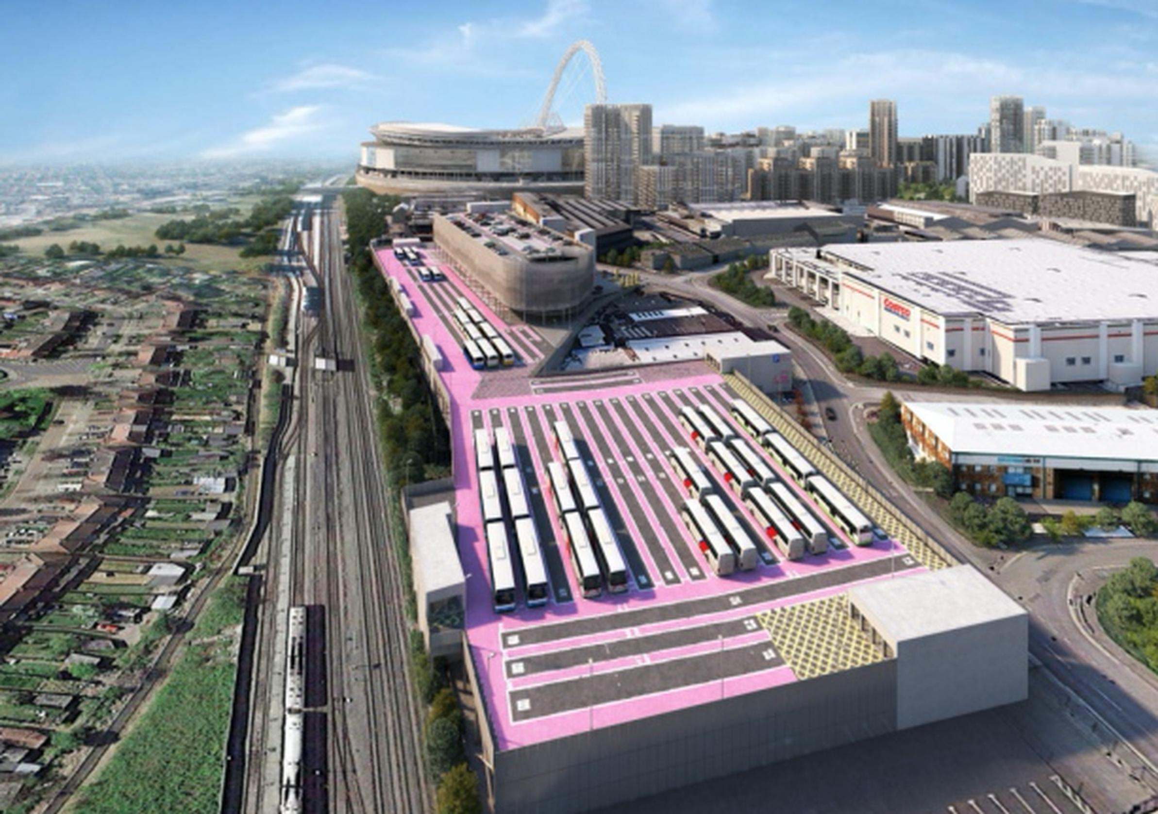 How the Pink car and coach park will look