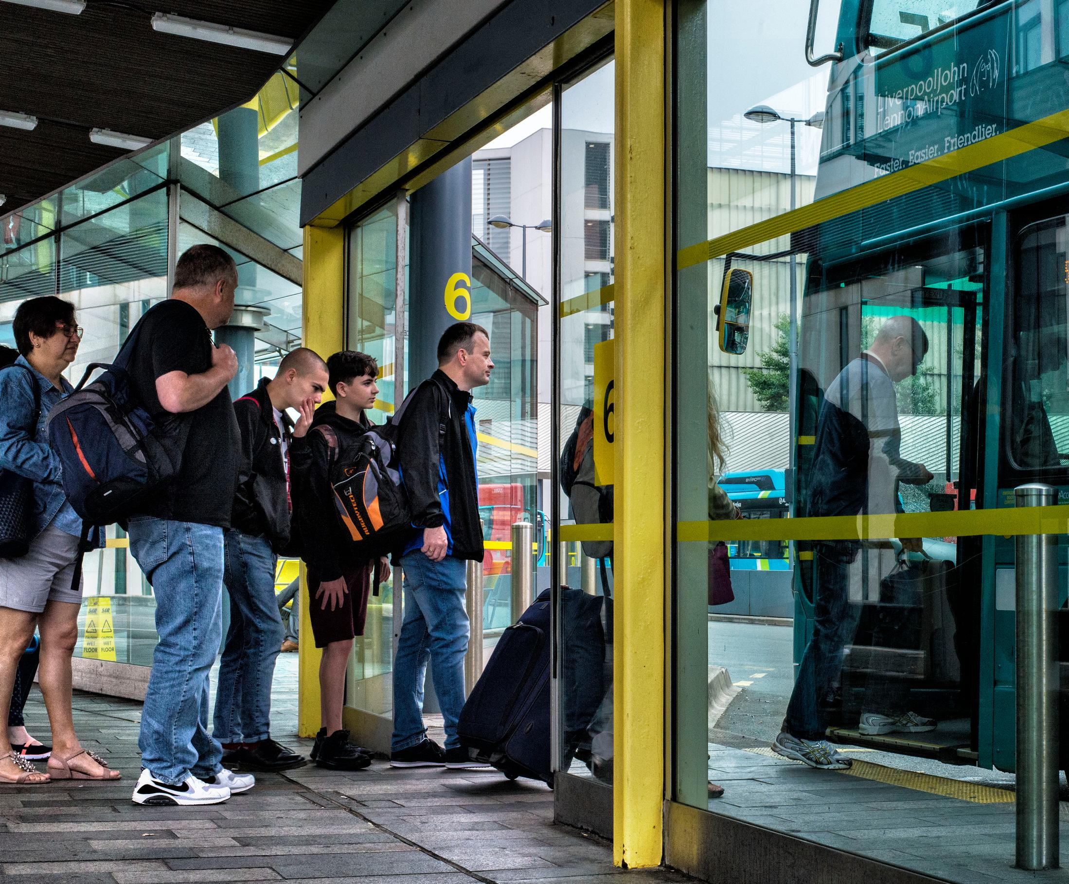 Passengers at Liverpool One bus station
