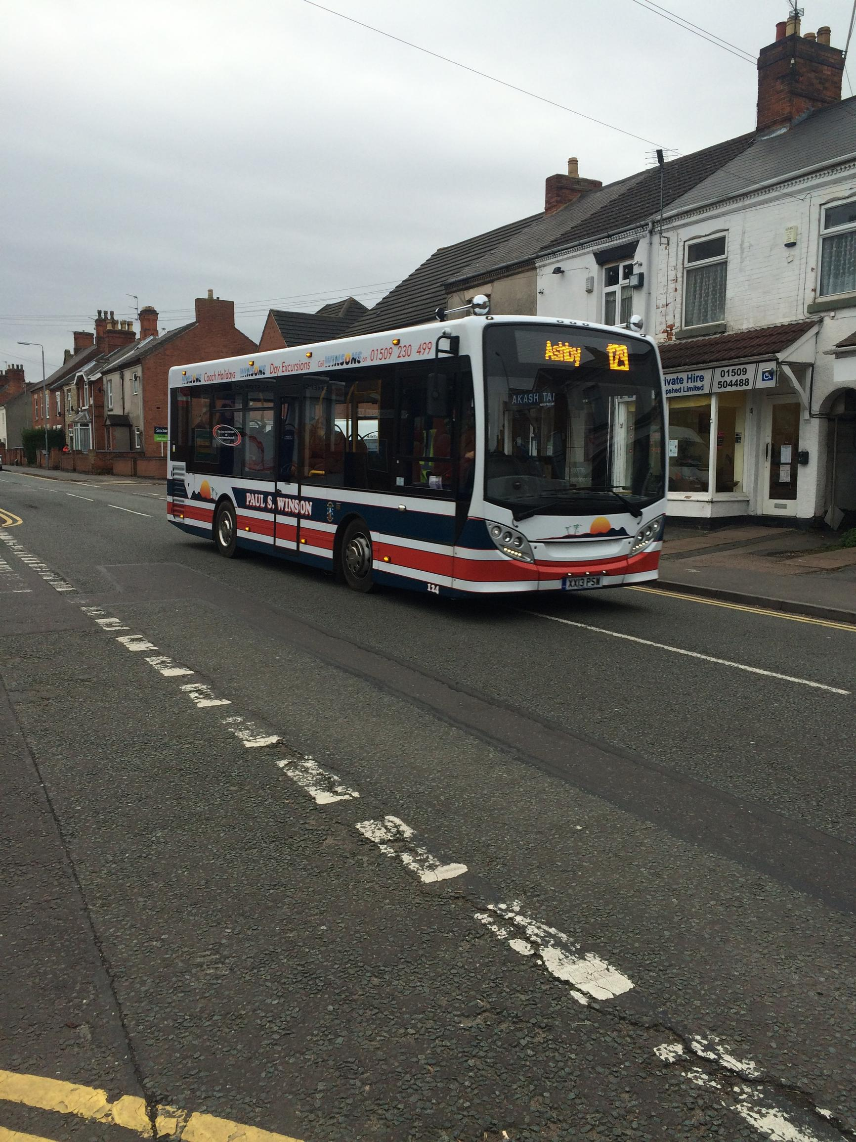 The 129 subsidised bus service which runs between Loughborough and Ashby-de-la-Zouch in Leicestershire