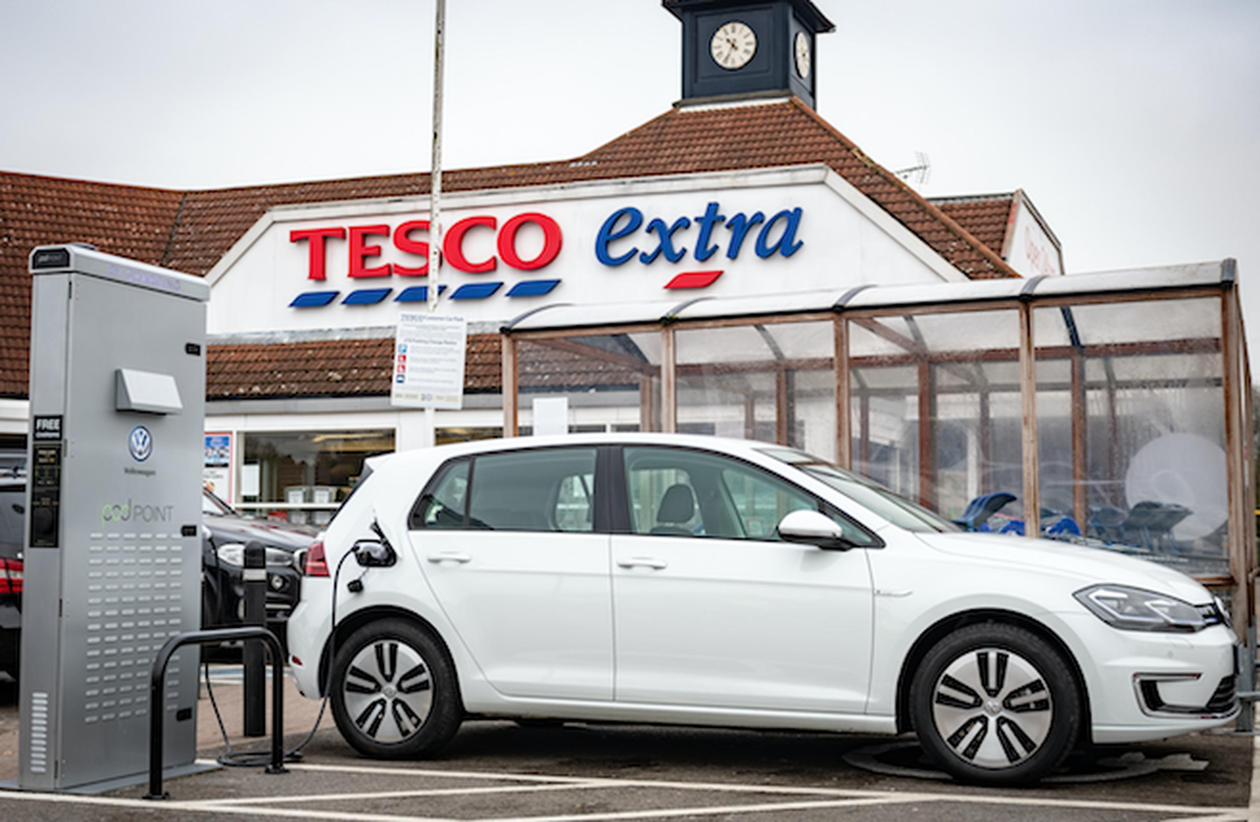 VW charging bays will be installed at around 600 Tesco Extra and Superstore car parks