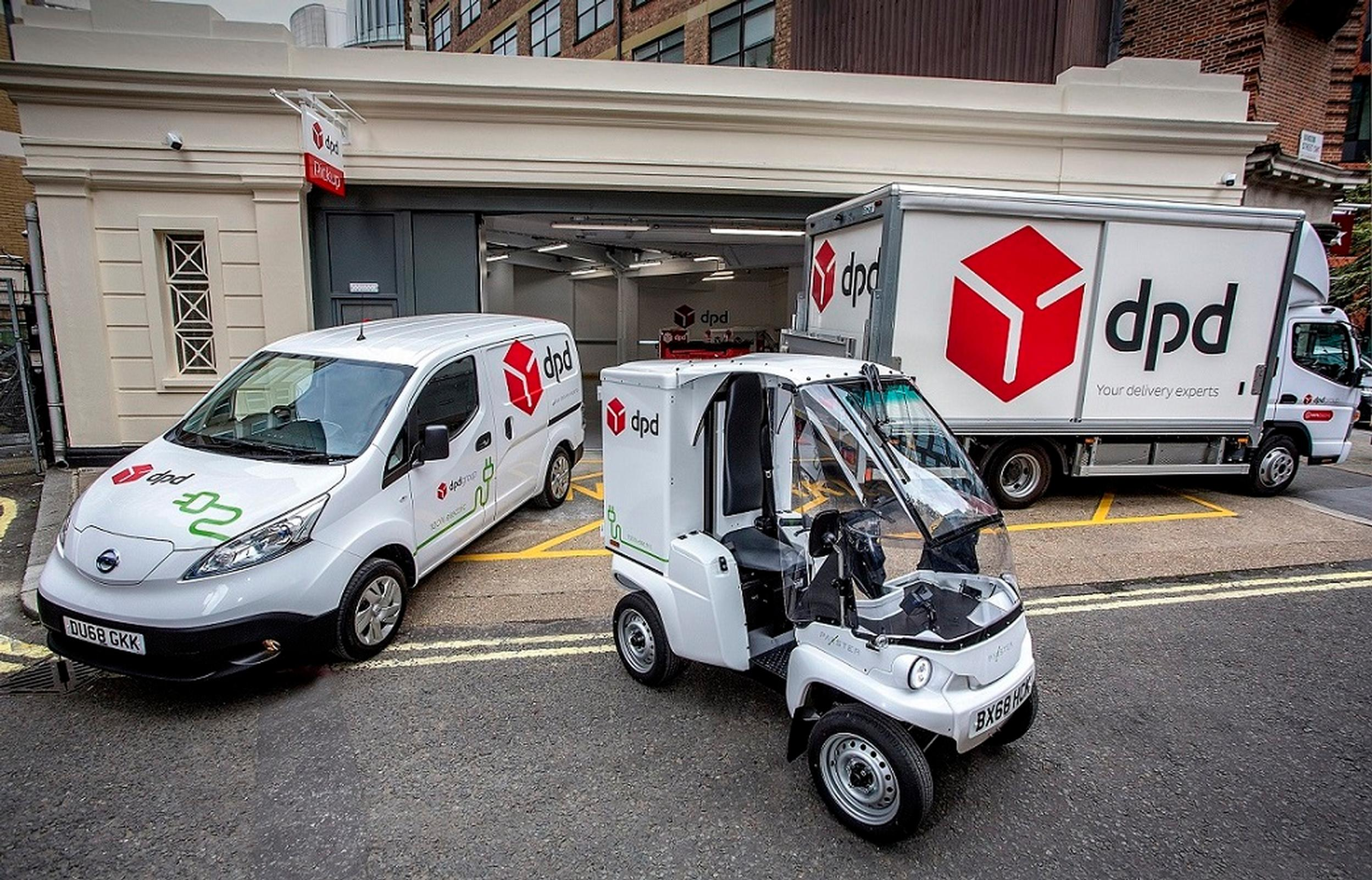 A DPD Nissan eNV200 all-electric van, Paxster and Mitsubishi Fuso eCanter 7.5-tonne truck