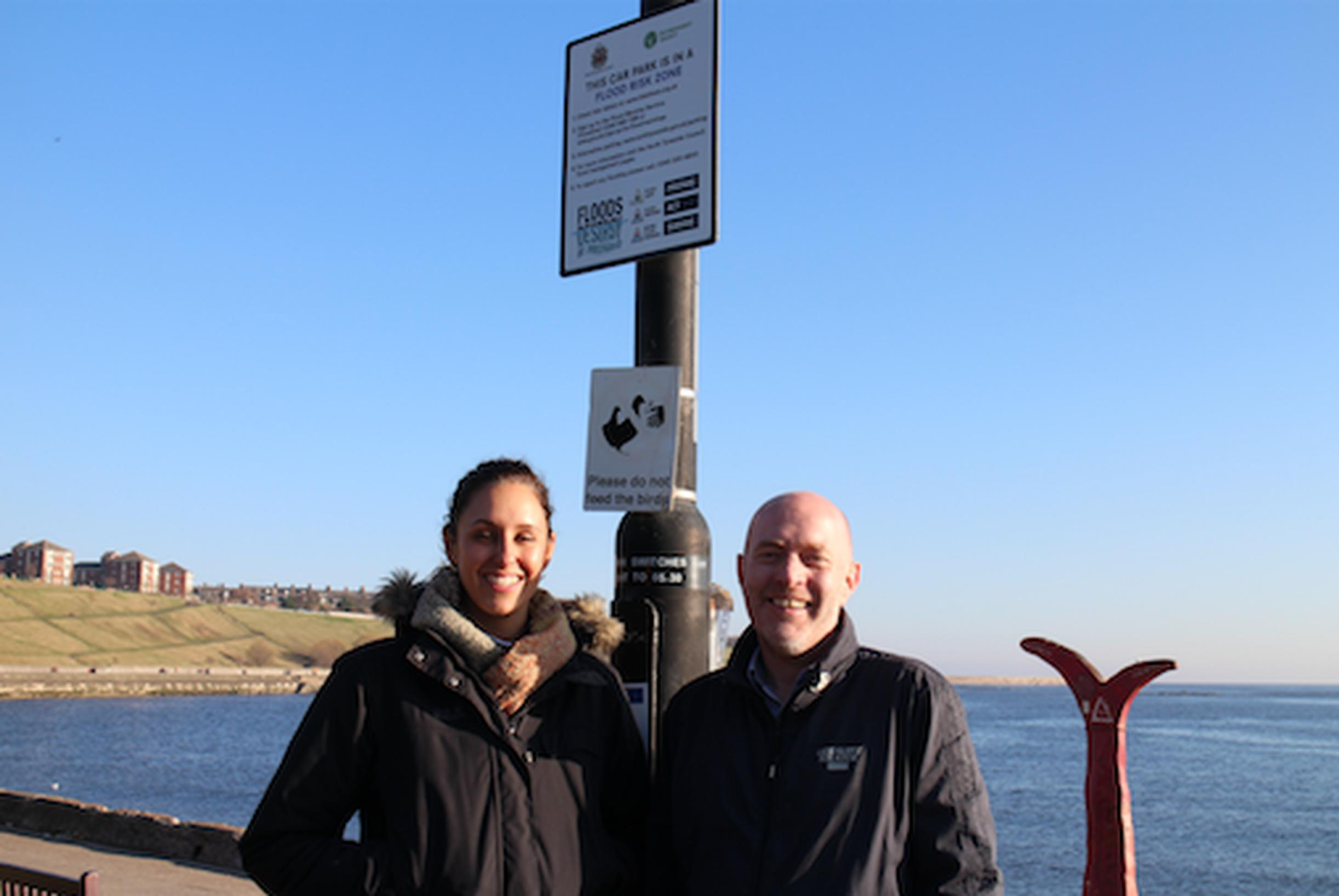 Signs help to identify flood risk car parks