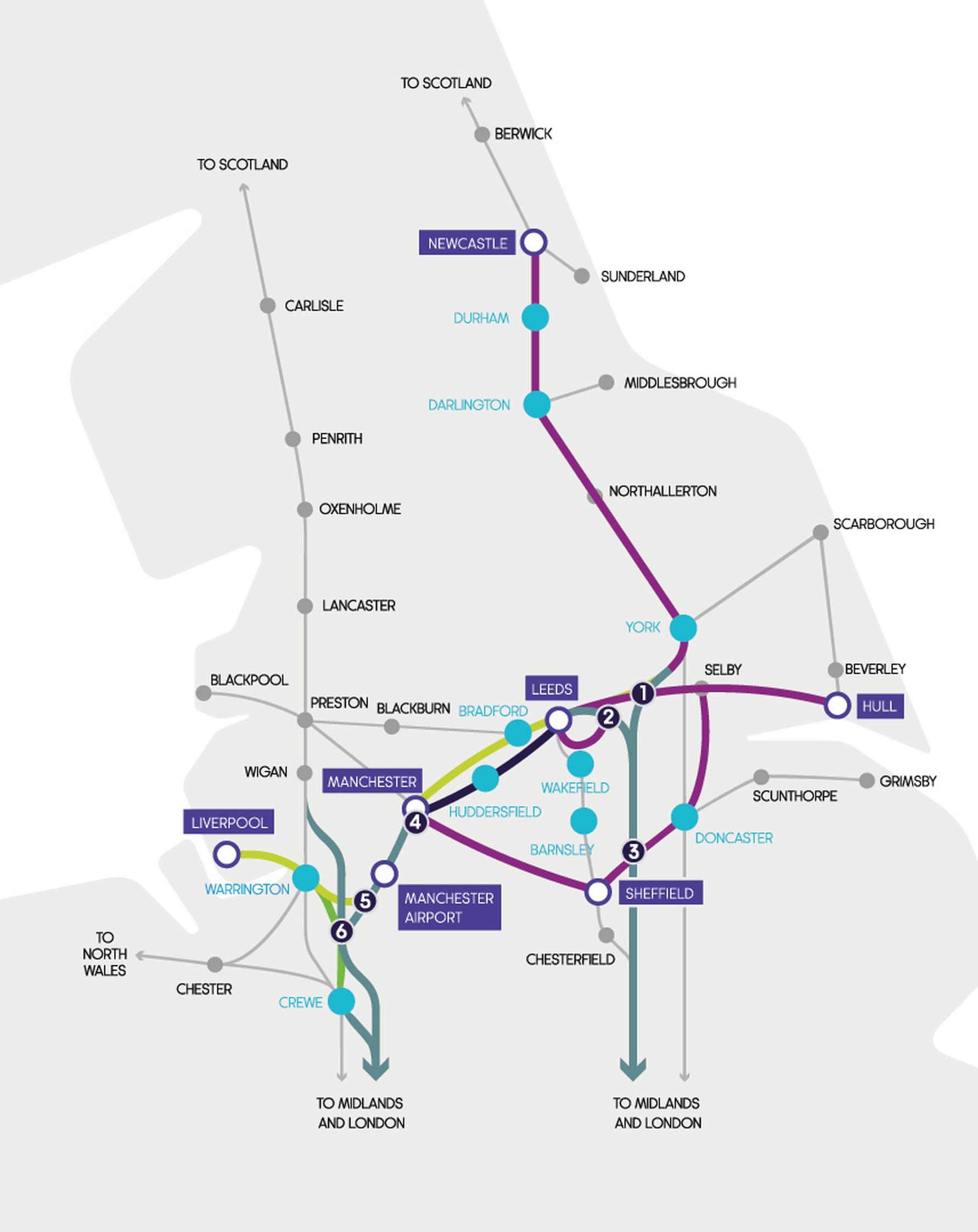 TfN's emerging vision of the Northern Powerhouse Rail (NPR) network: