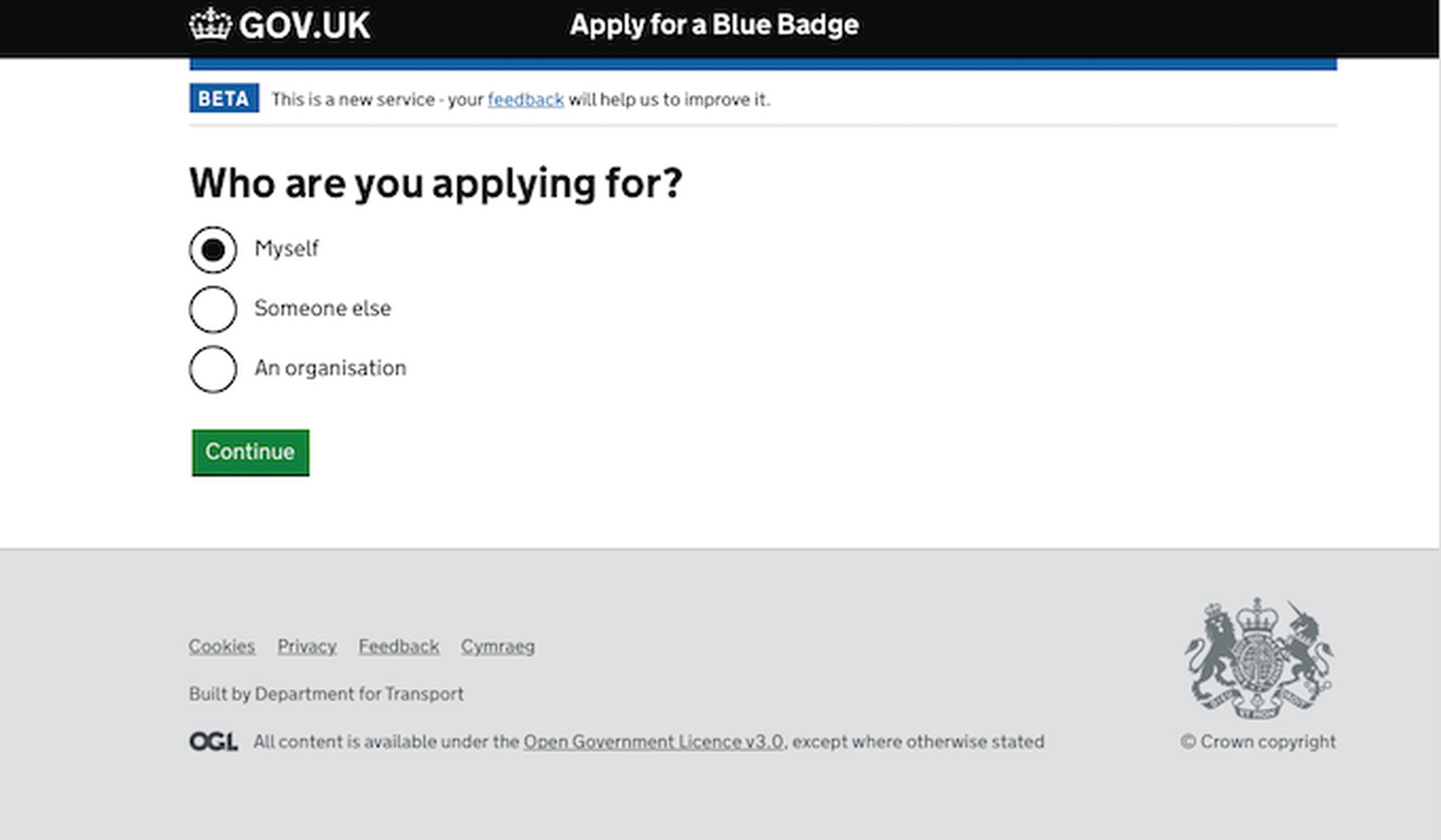 The new DfT Blue Badge application portal