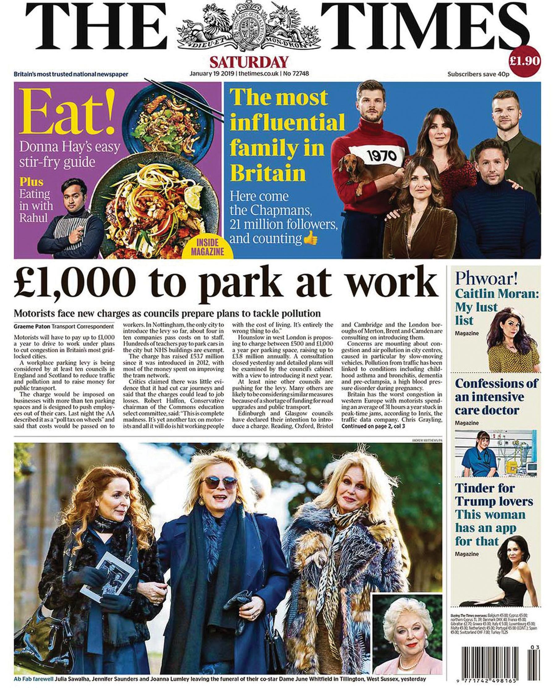 The Times put workplace parking levies on its front page on 19 January