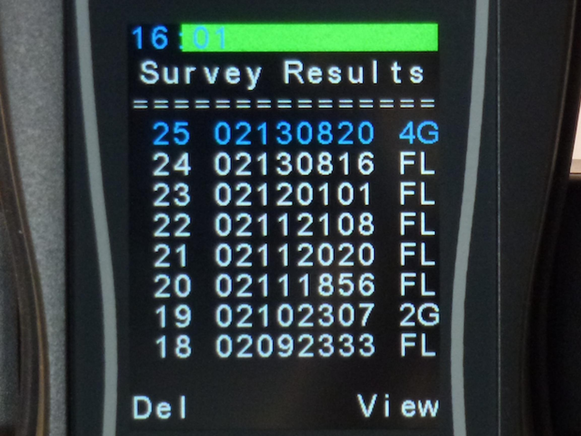 Survey results shown on a SNYPER-LTE Graphyte unit