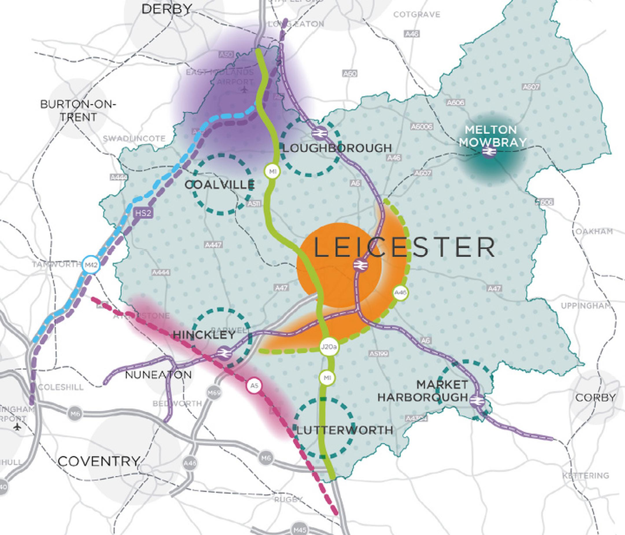 The strategic growth plan identifies growth opportunities tied to a new A46 road round the south and east of Leicester, and the A5