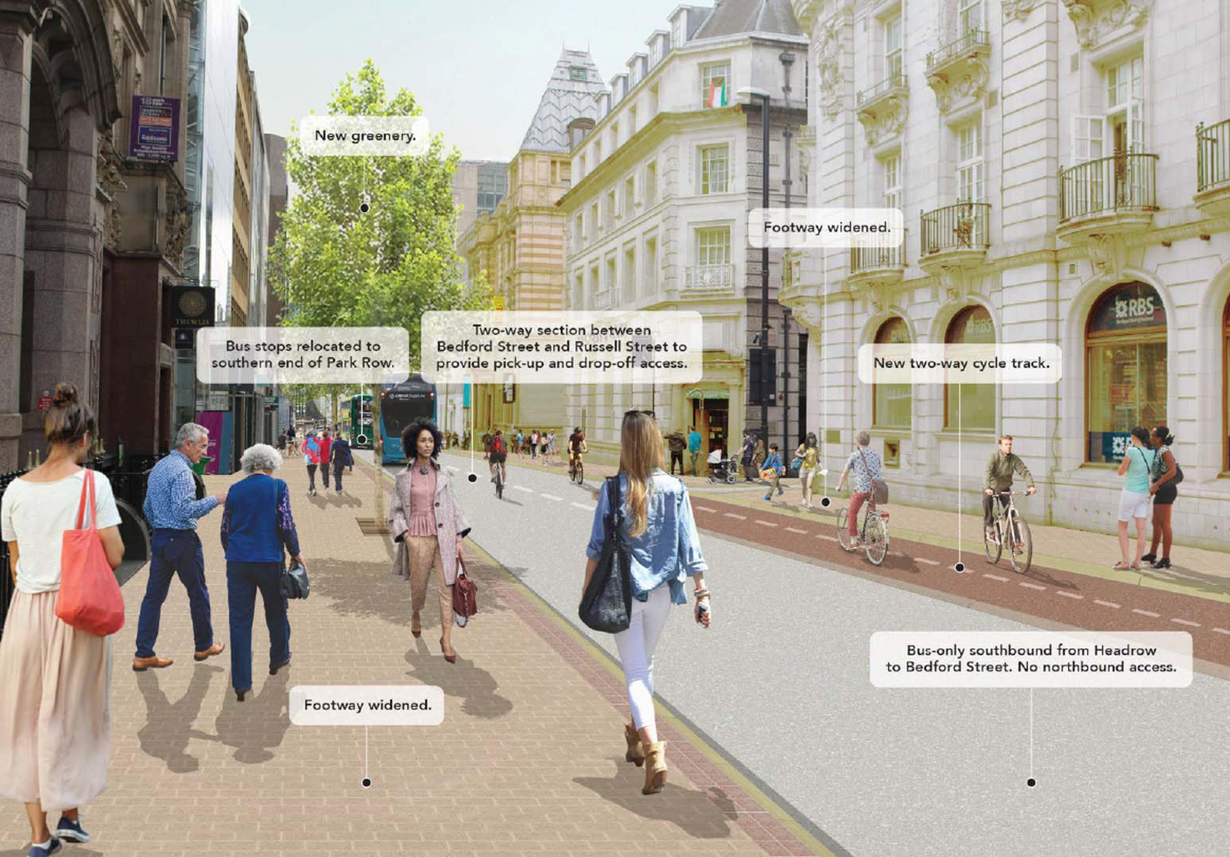 Research will inform monetised values for schemes that improve the urban realm, such as these proposals in Leeds