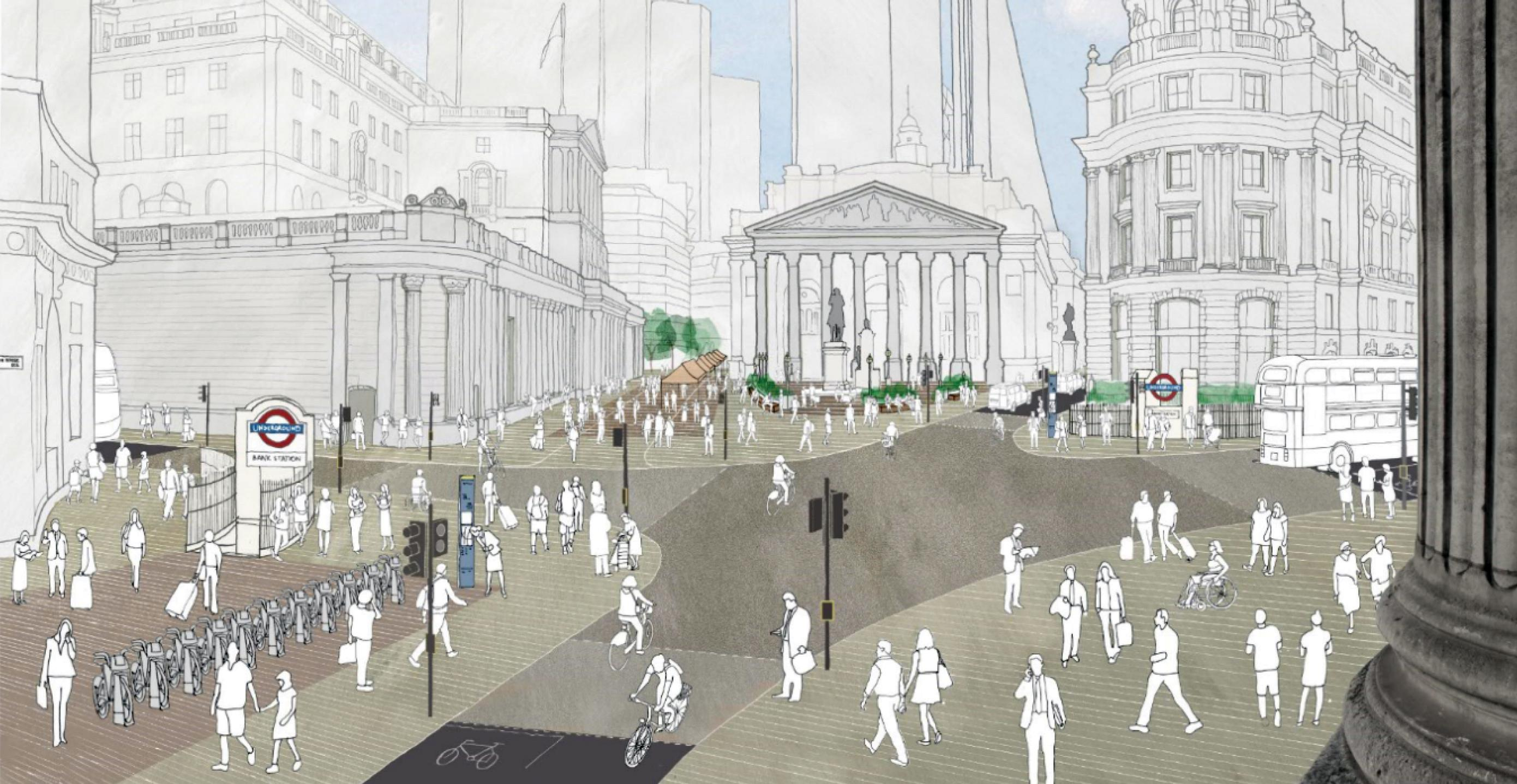An artist's impression of Bank junction with two arms closed