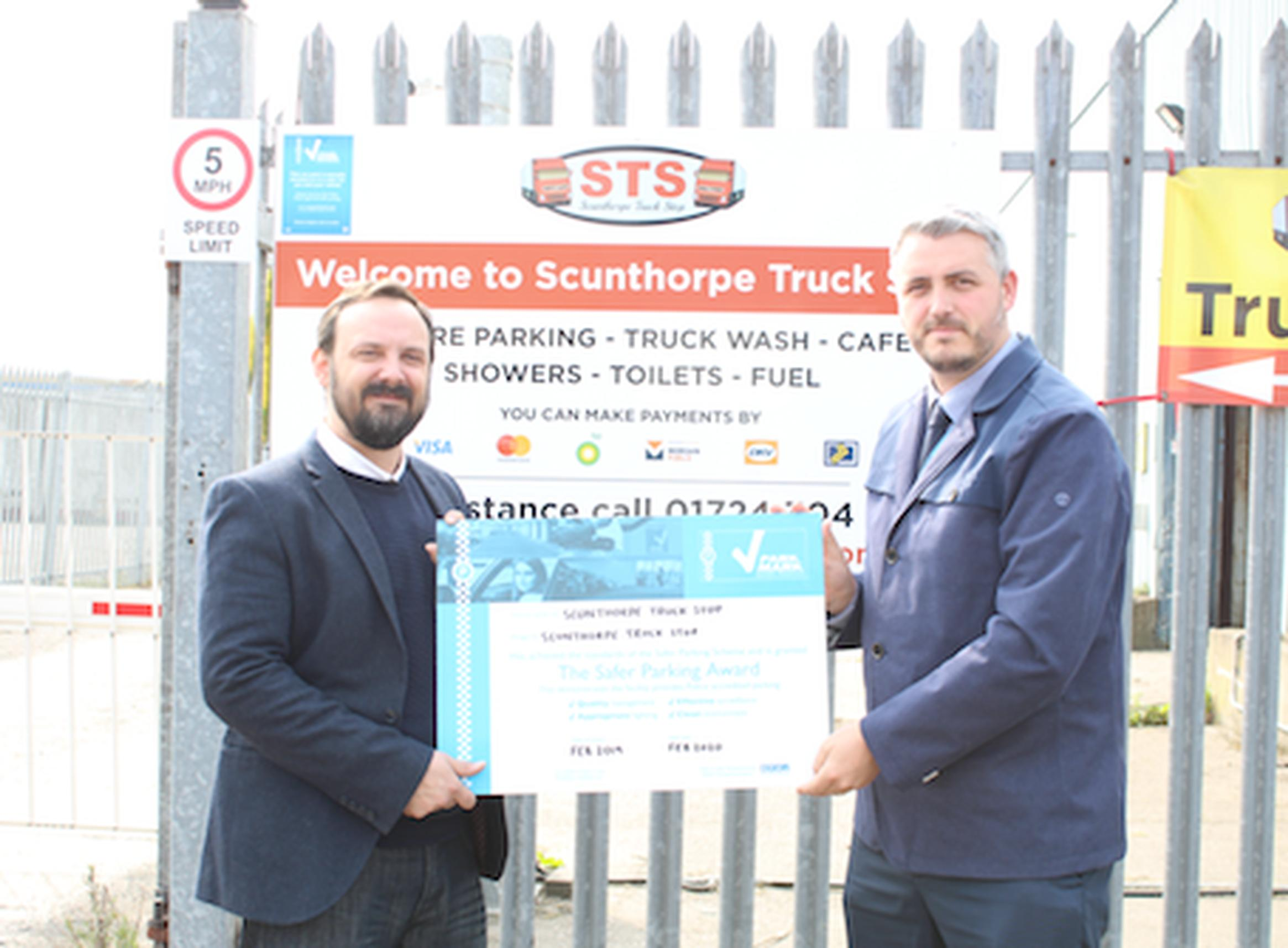 Dave Ellse, Scunthorpe Truck Stop and Ryan Davey, Safer Parking Scheme area manager