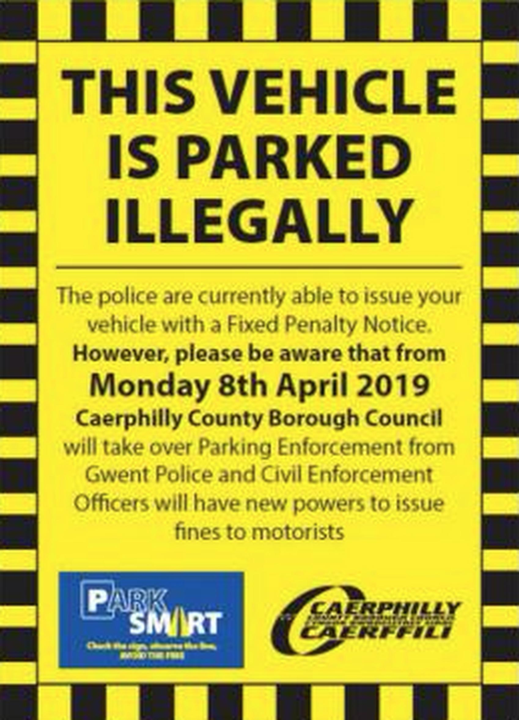 From now on, park carefully in Caerphilly