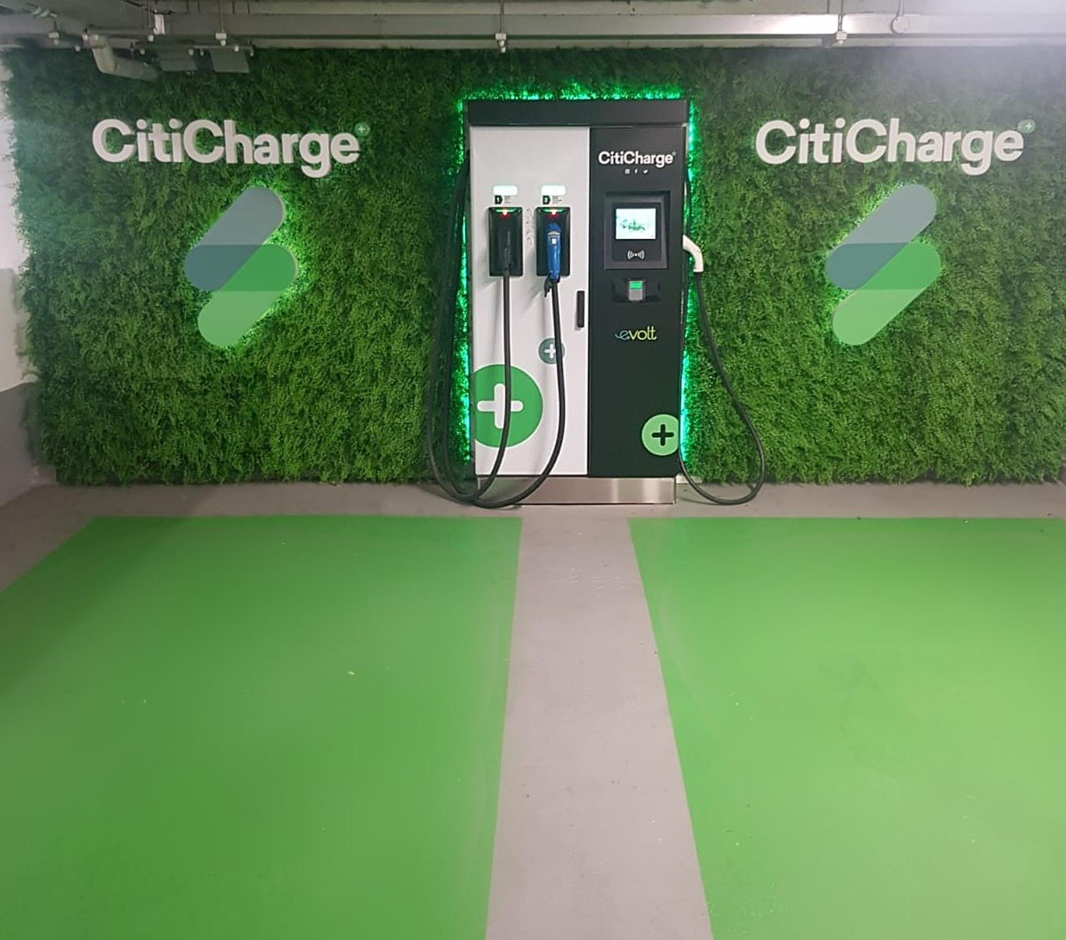 A CitiCharge 480-volt electric vehicle rapid charging station