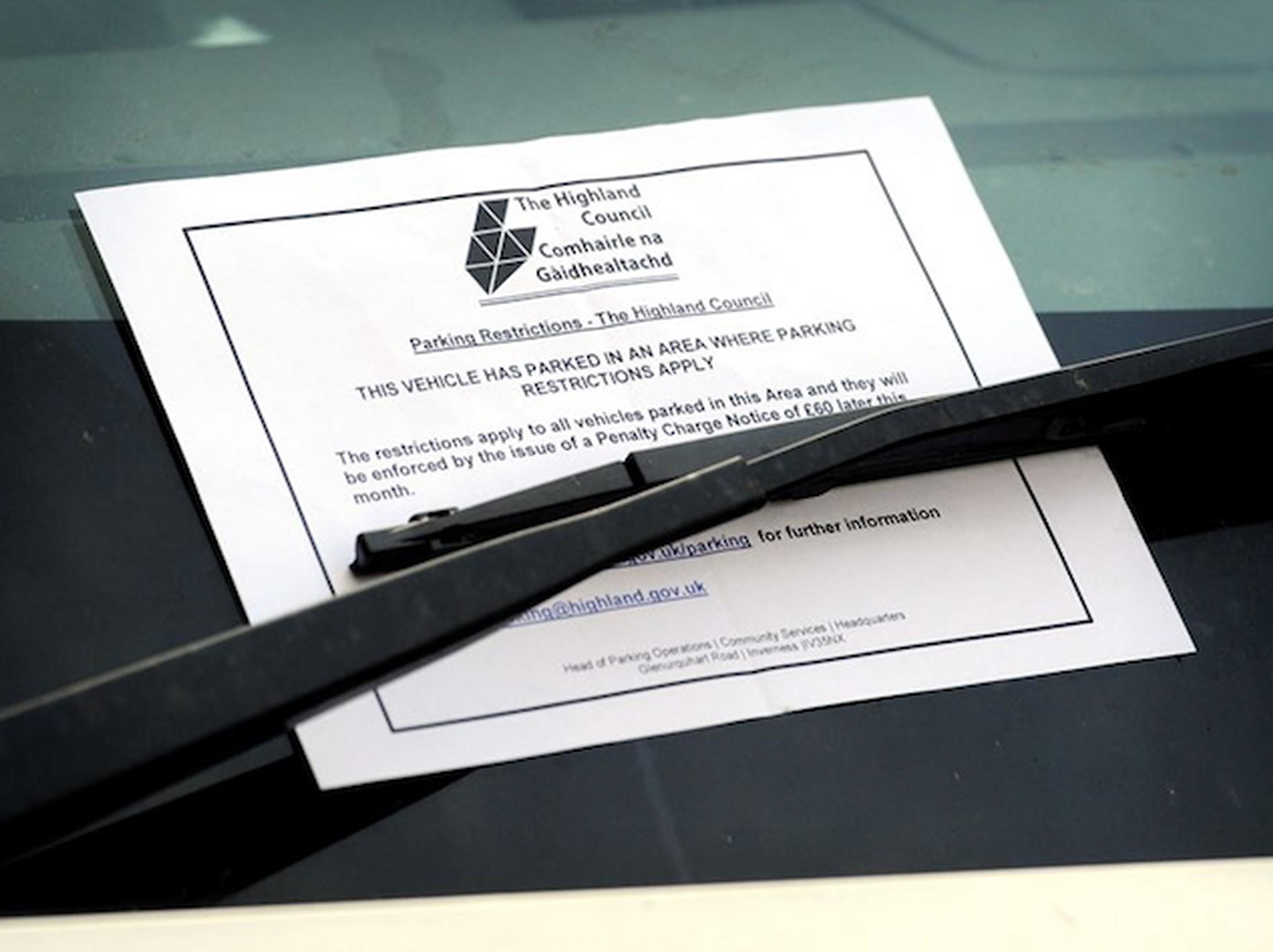 CEOs issued warning notices to vehicles found parking in contravention for a two-week period