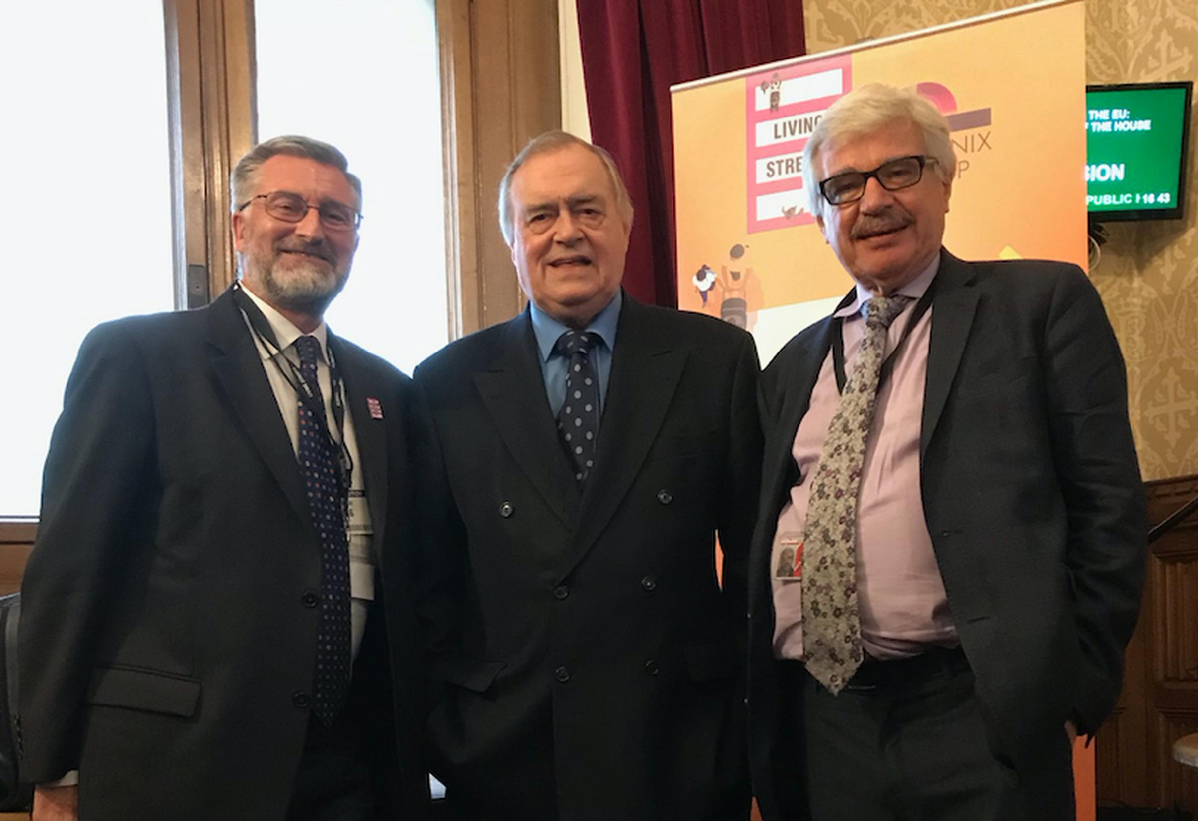 Living Streets CEO Joe Irvin with Lord Prescott and Lord Whitty at the charity`s 90th anniversary reception