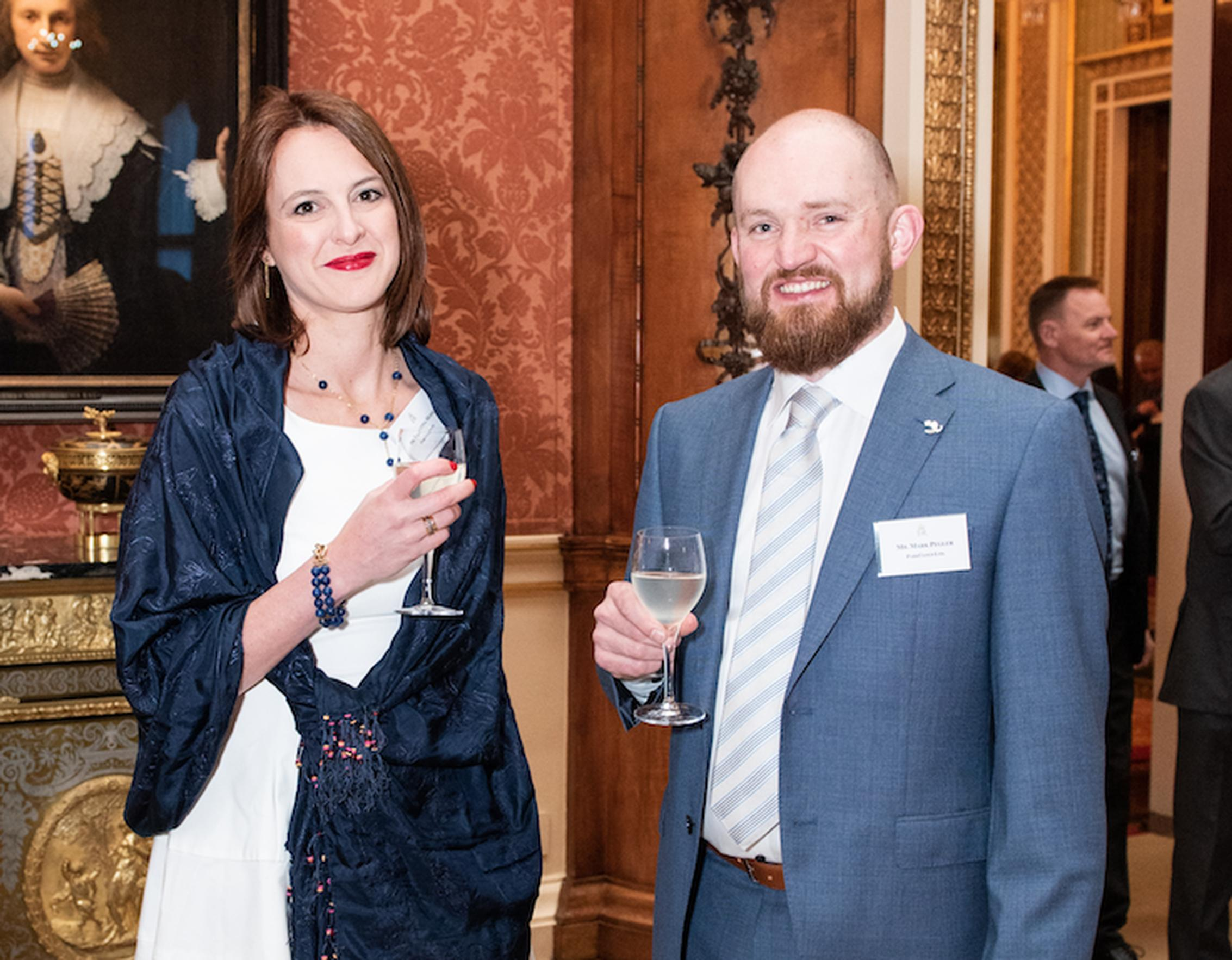 Dr Valentina Moise and Mark Pegler attending the Queen's Award for Enterprise reception at Buckingham Palace