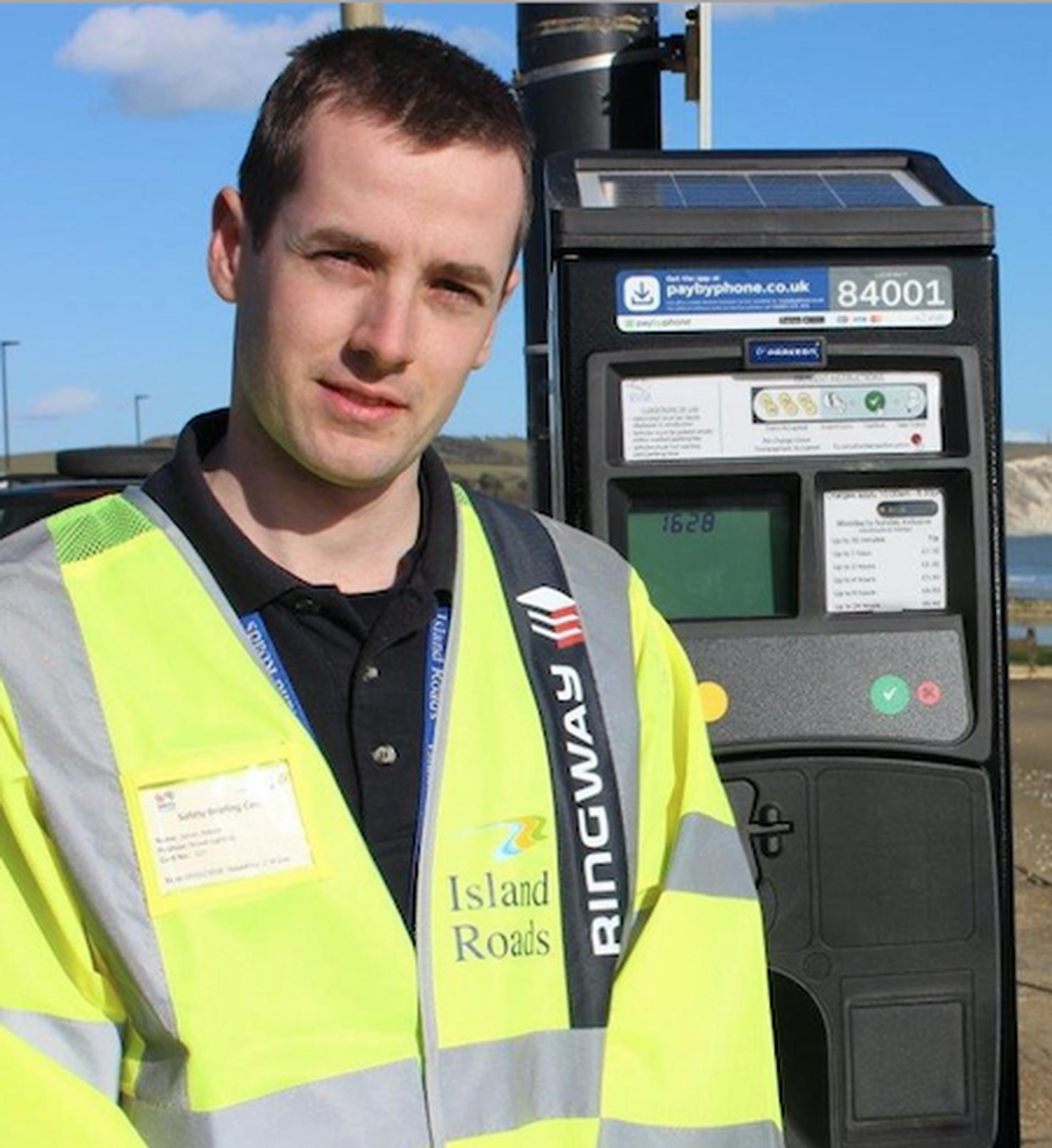 James Adsett of Island Roads with one of the new Flowbird terminals