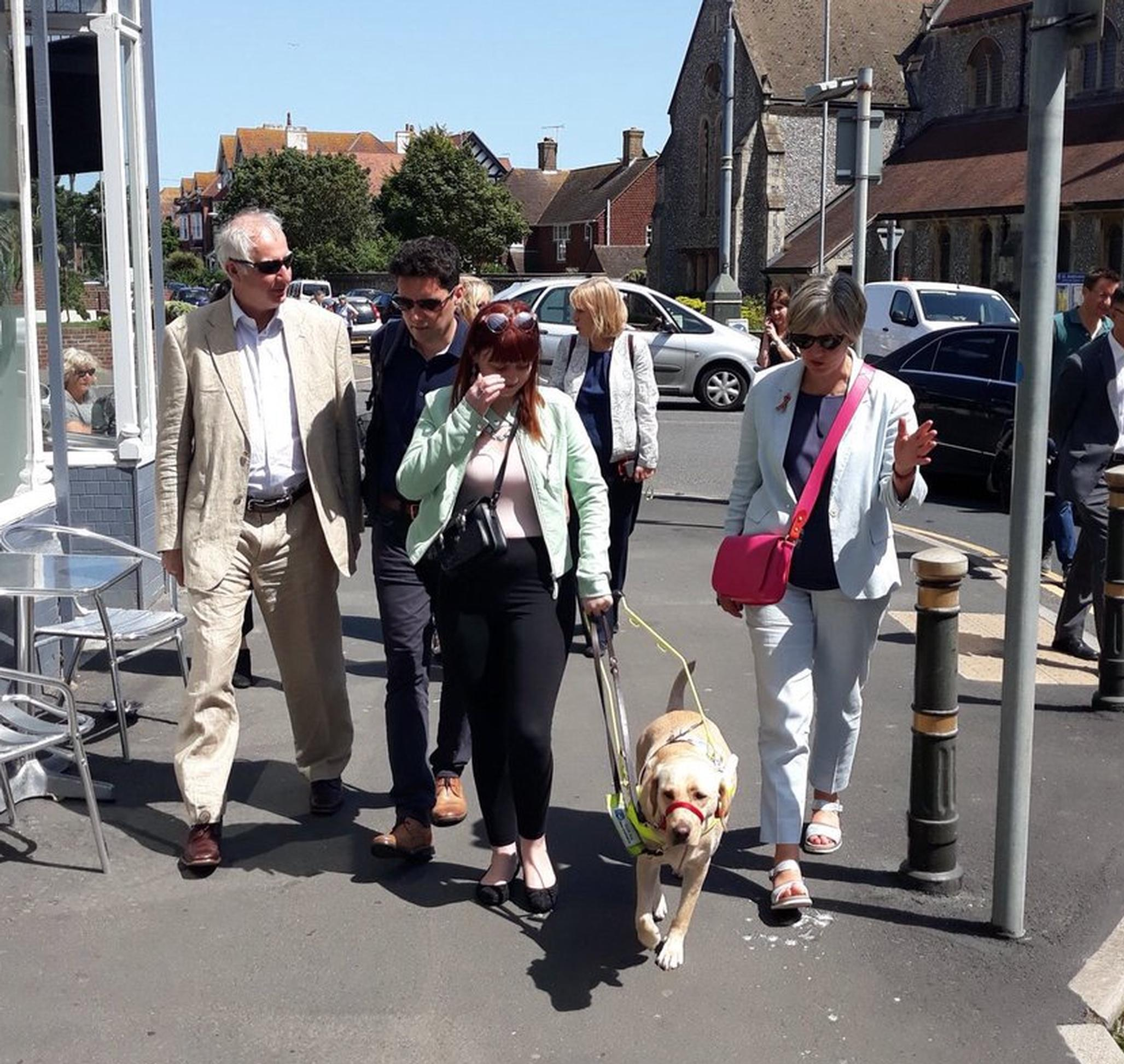 Members of the Transport Committee were shown around Bexhill-on-Sea by a blind person and her guide dog