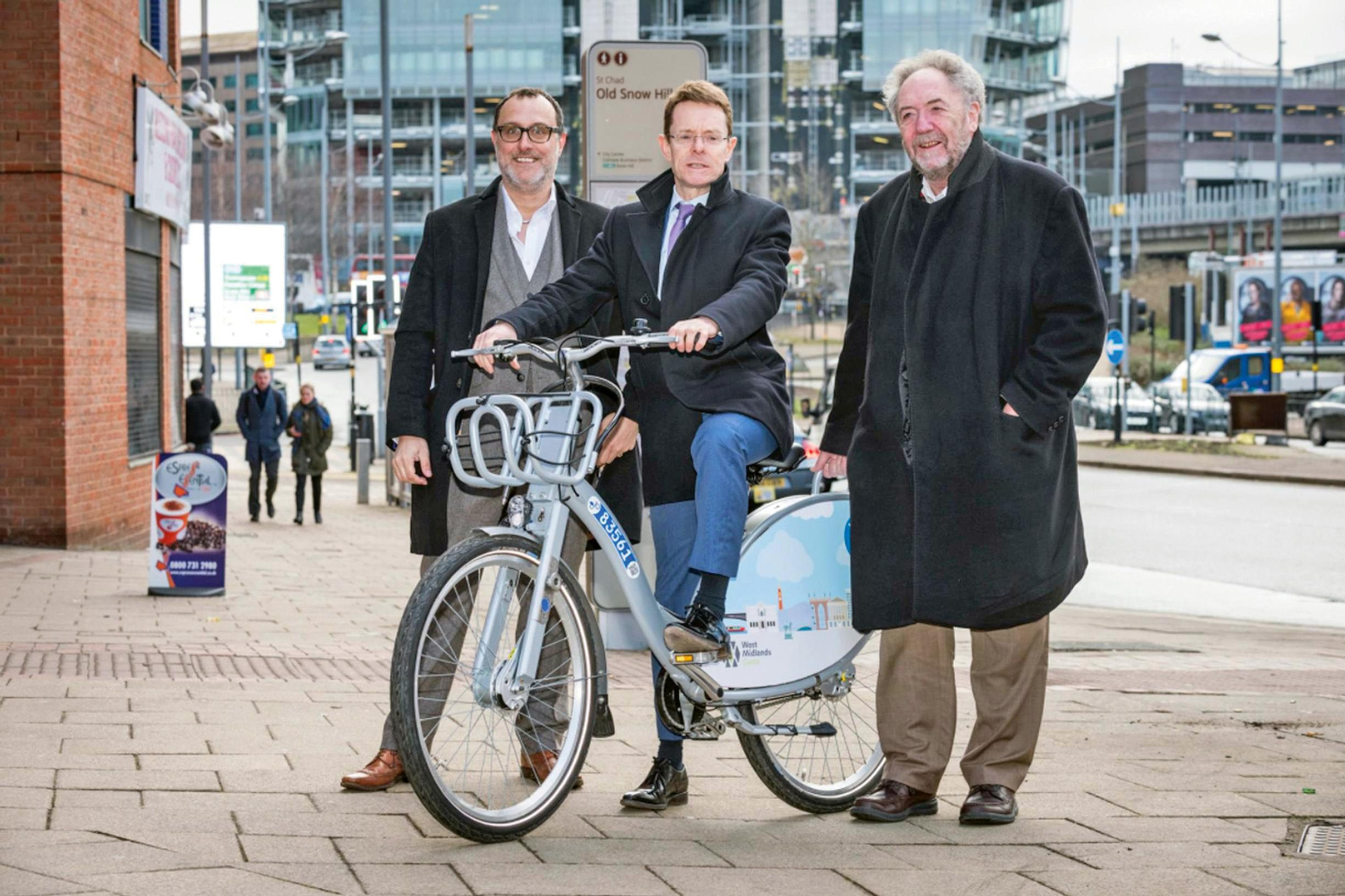 Happier days: West Midlands mayor Andy Street (centre) marking the award of the Nextbike contract