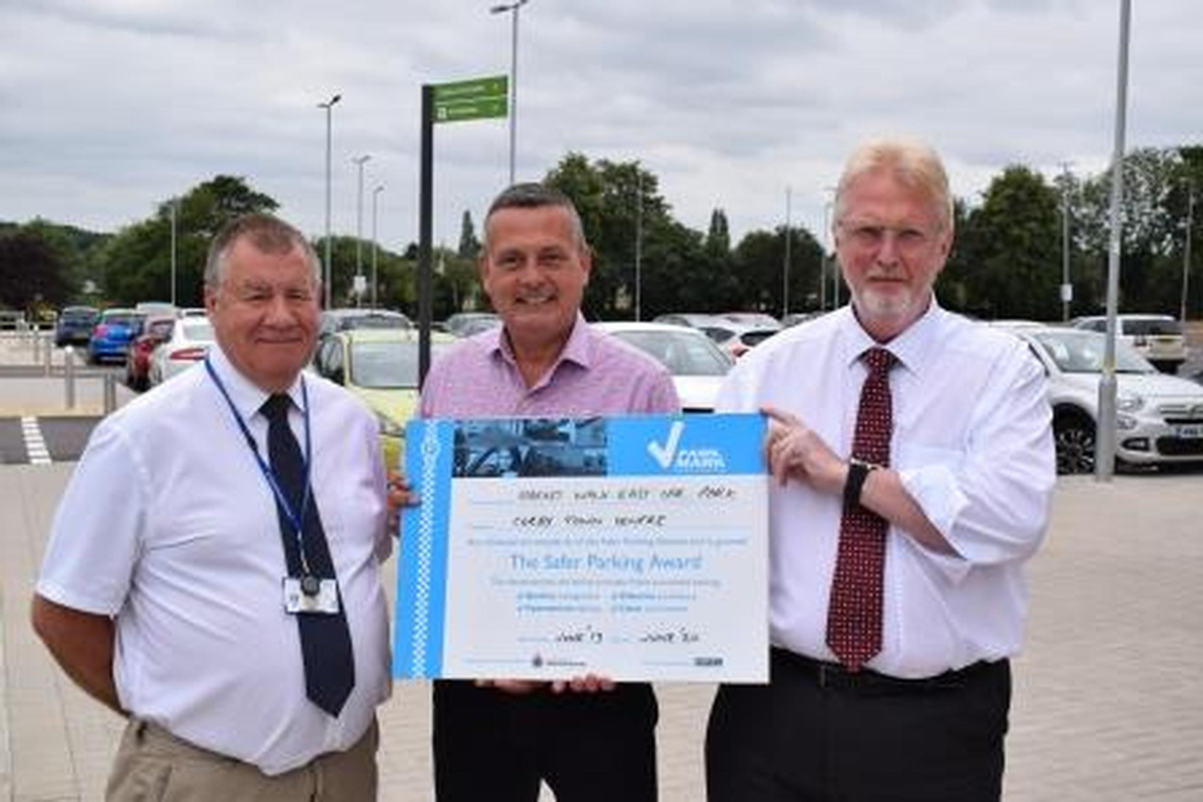 Daniel Pickard (centre director), Richard Wilson (Northamptonshire Park Mark assessor) and Peter Gravells (BPA area manager)