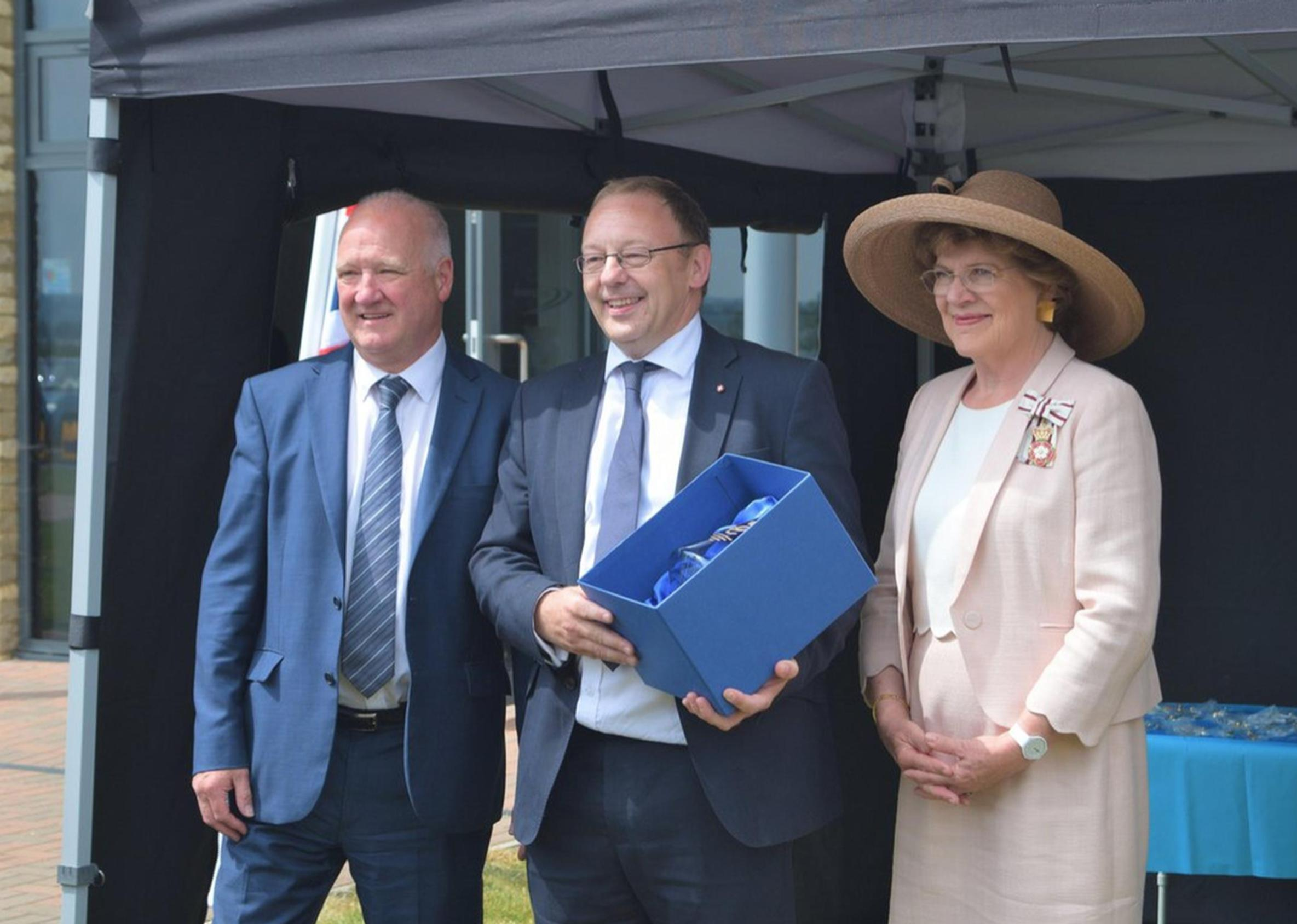 Wiltshire Council leader Philip Whitfield, Chipside chief executive Paul Moorby OBE and Sarah Rose Troughton, Lord-Lieutenant of Wiltshire