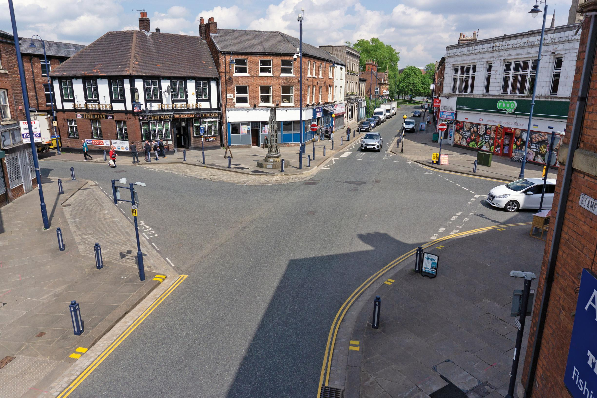 Stamford Street in Ashton-under-Lyne now (left) and how it should look after pedestrianisation. This is one of 57 Bee Network schemes approved for funding by the Greater Manchester Combined Authority