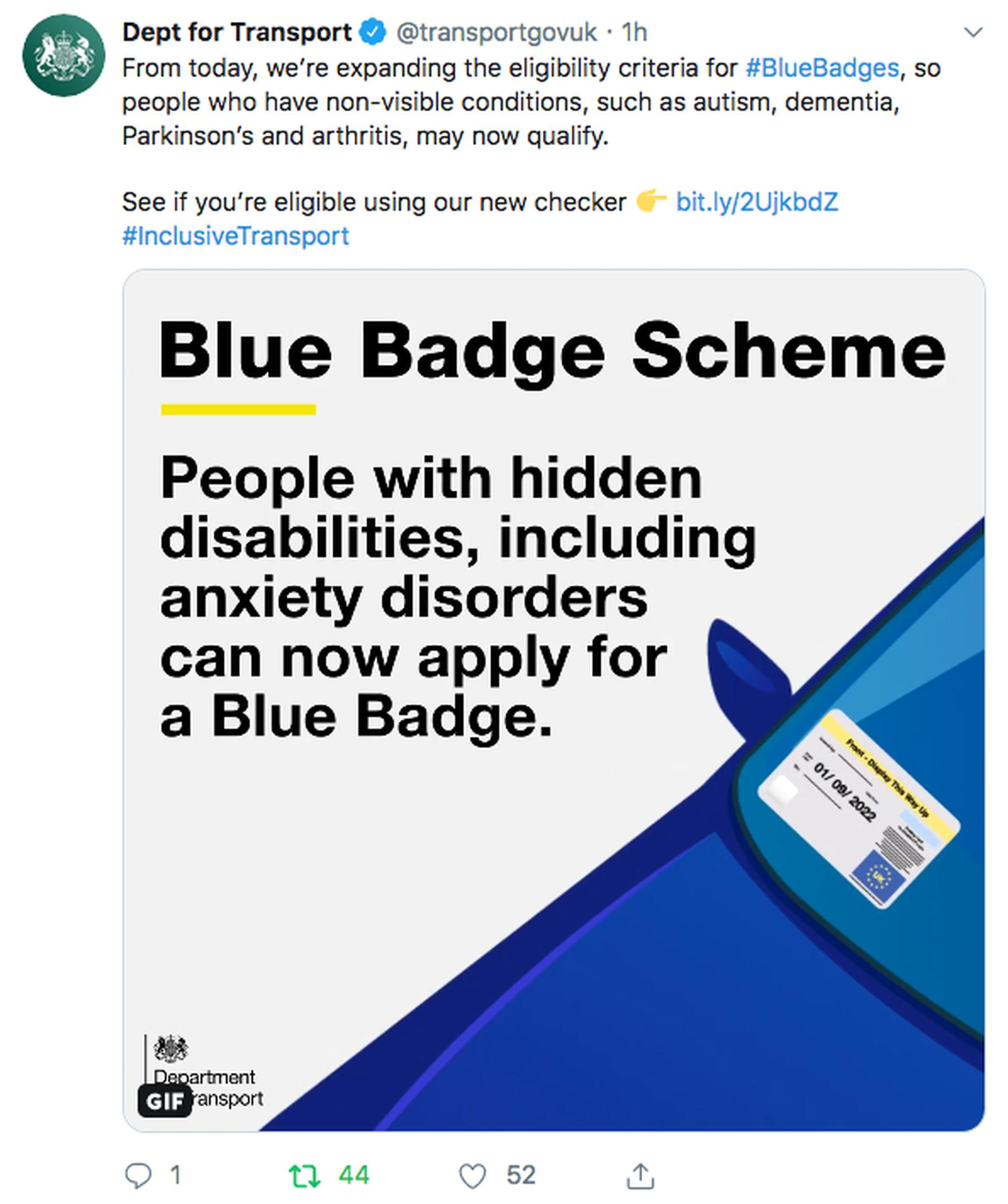 New Blue Badge eligibly criteria comes into effect