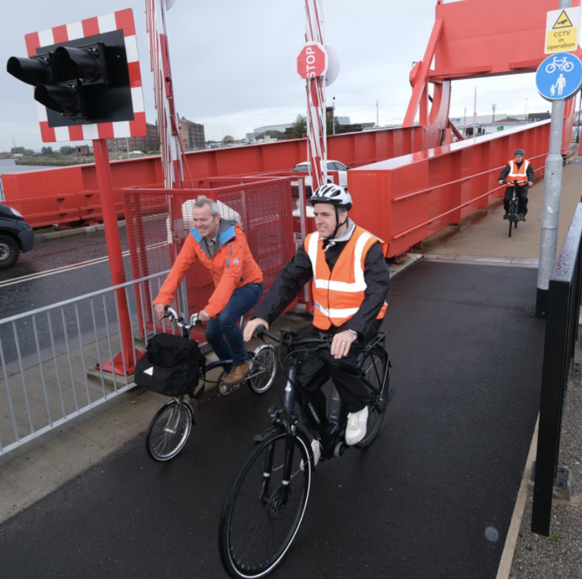 Simon O`Brien, cycling and walking commissioner to cover the entire Liverpool City Region, cycles with Steve Rotheram, Metro Mayor, Liverpool City Region