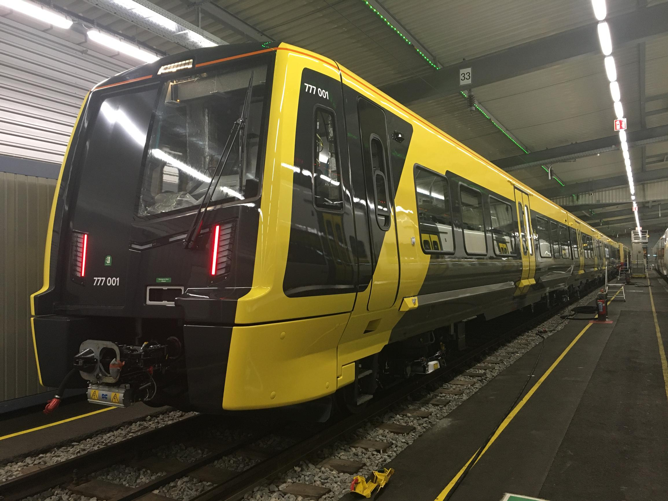 The first of the new Merseyrail trains under test in Germany