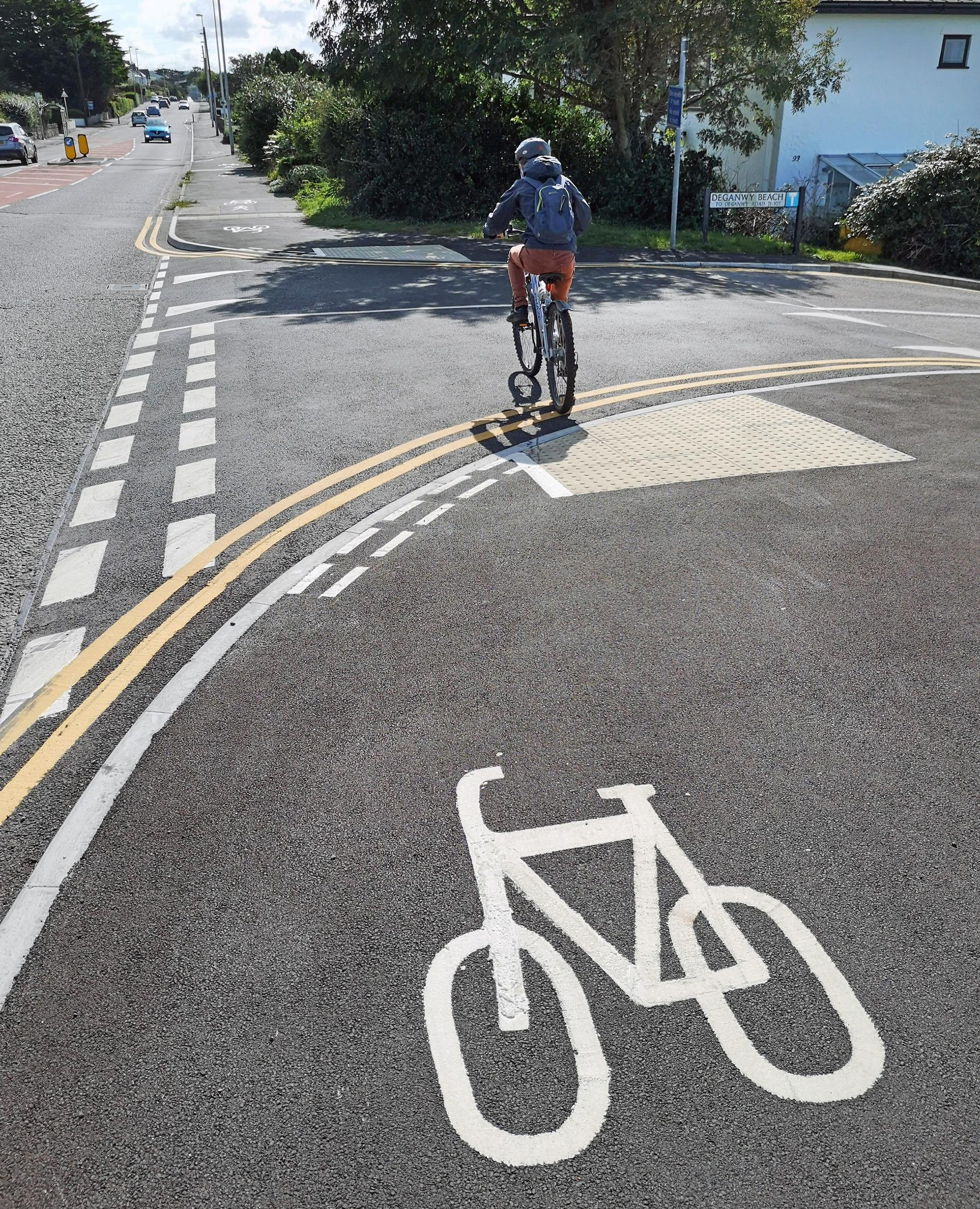 A newly installed active travel route in Conwy county borough