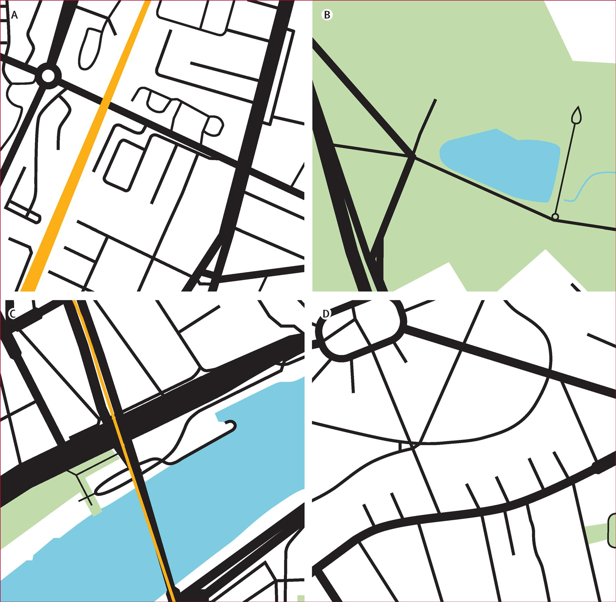 Four sample images for Paris, France. The images show combinations of rail transit networks (orange), green space (green), water bodies (blue), and road infrastructure (black). Jason Thompson et al. The Lancet Planetary Health