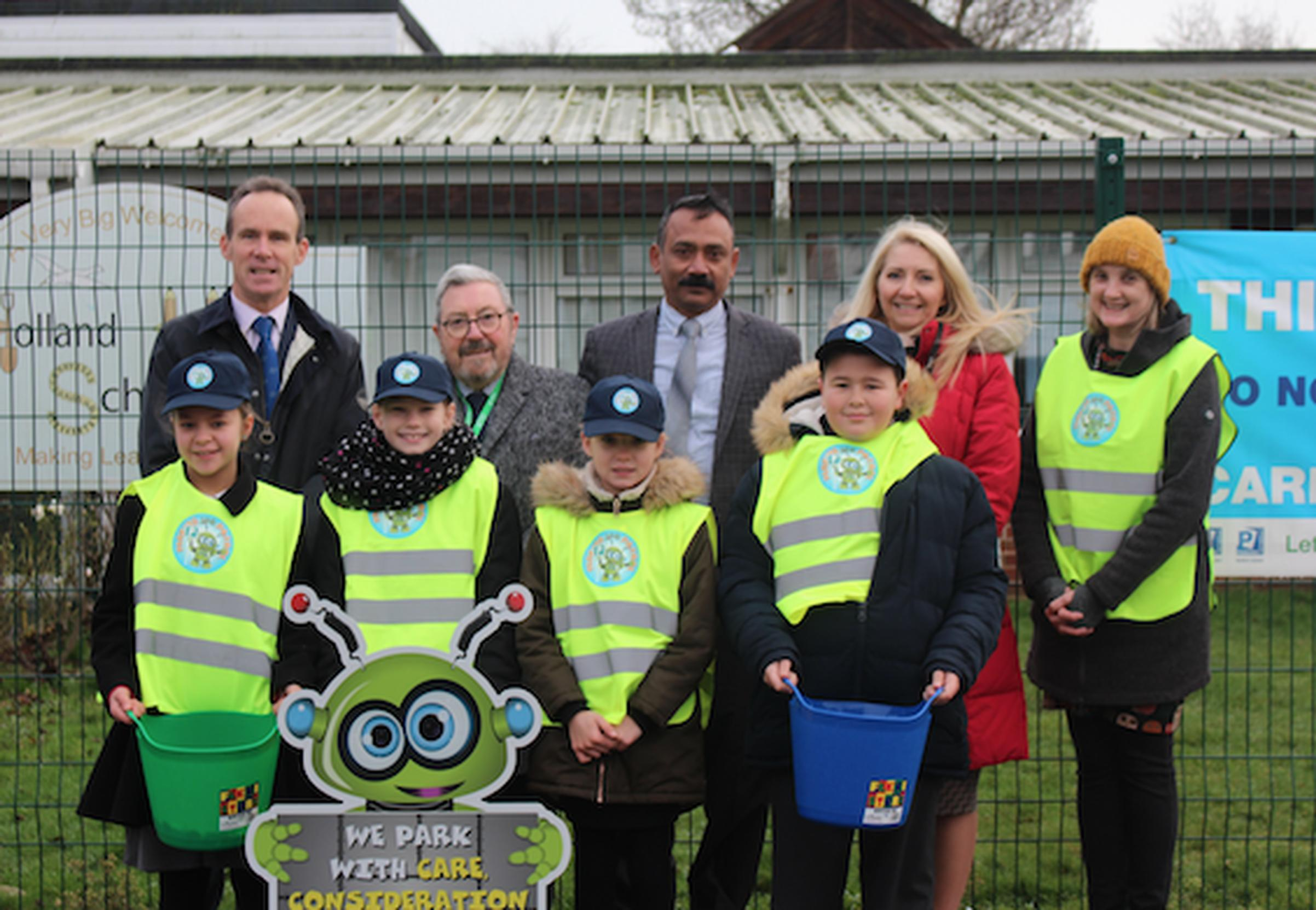 upils and staff from Holland Haven Primary School with Cllr Robert Mitchell (chair of NEPP), Cllrs Colin Winfield and Kanagasundaram King (Tendring District), Catherine Cole (deputy headteacher) and Emma Day (3PR project manager)