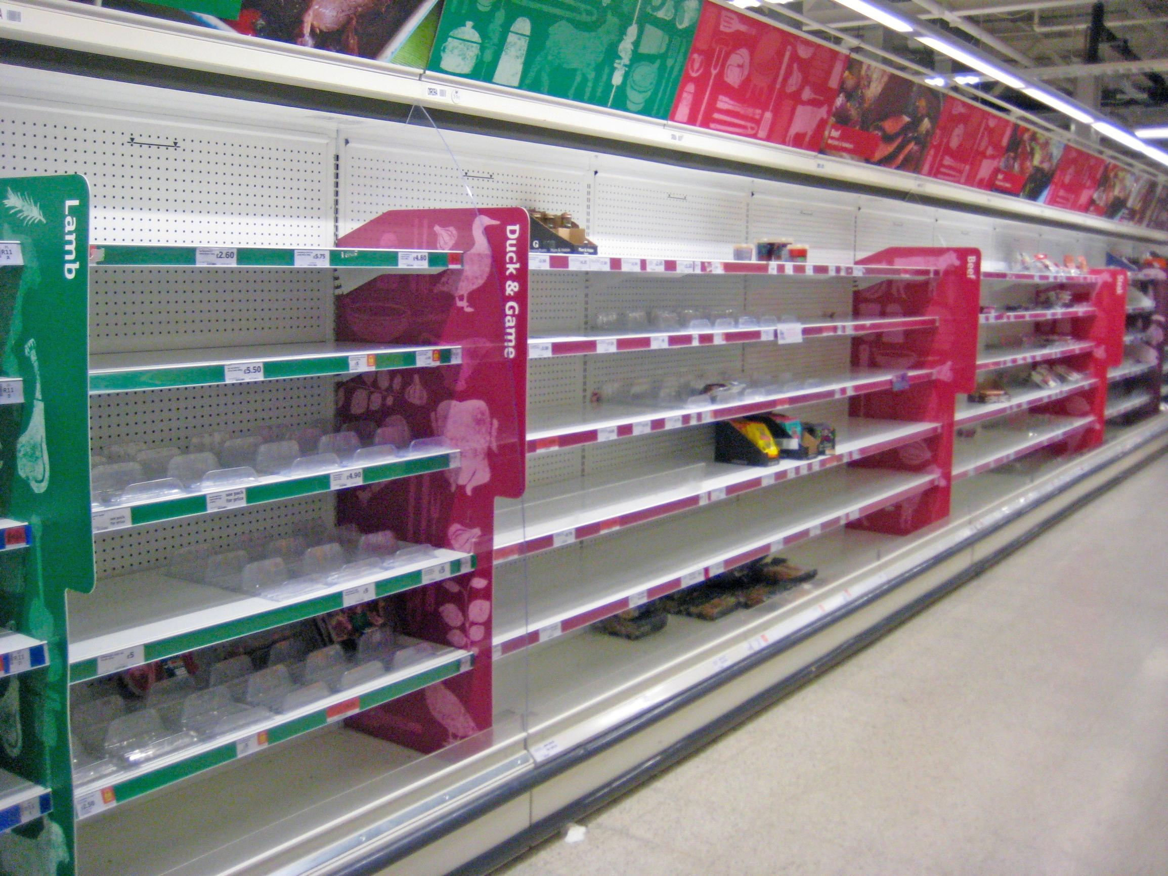 Panic-buying has caused supermarkets to run out of foods