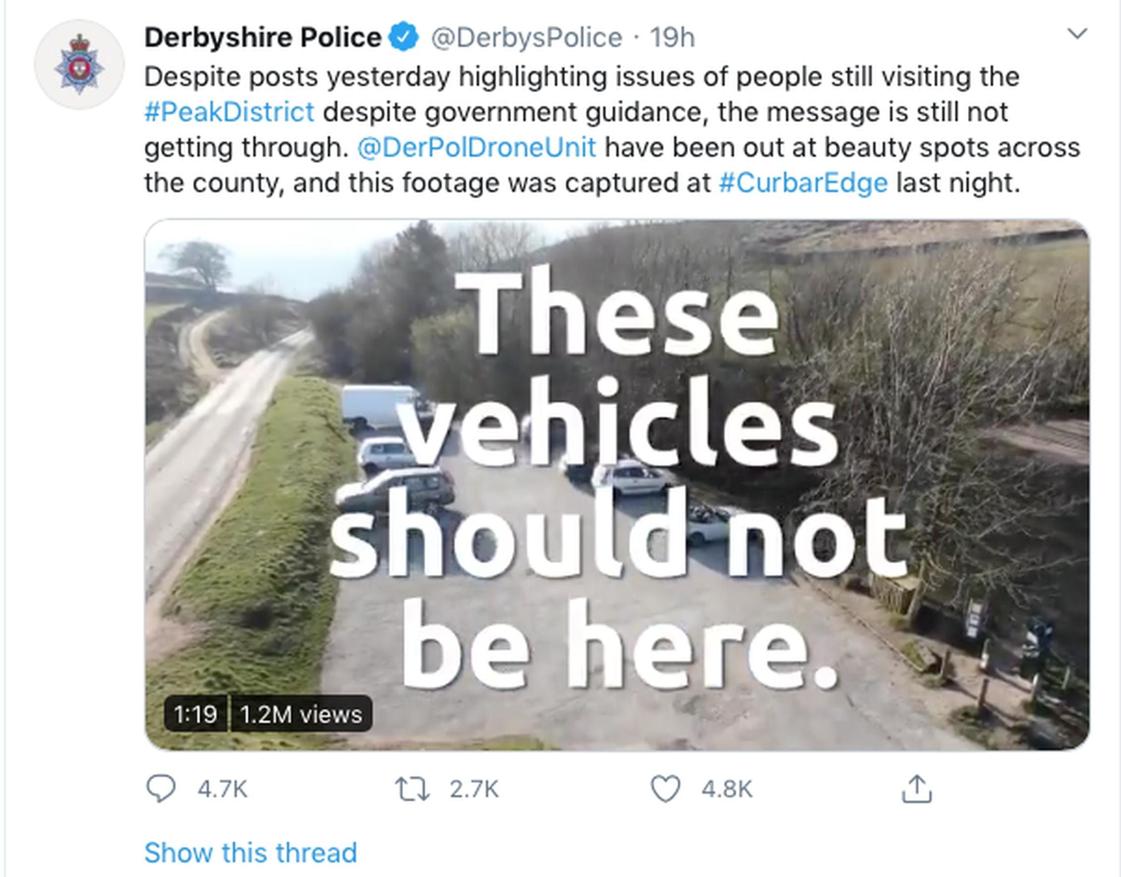 Derbyshire Police used Twitter to say vehicles should not be using a car park in Curbar Edge (Derbyshire Police)