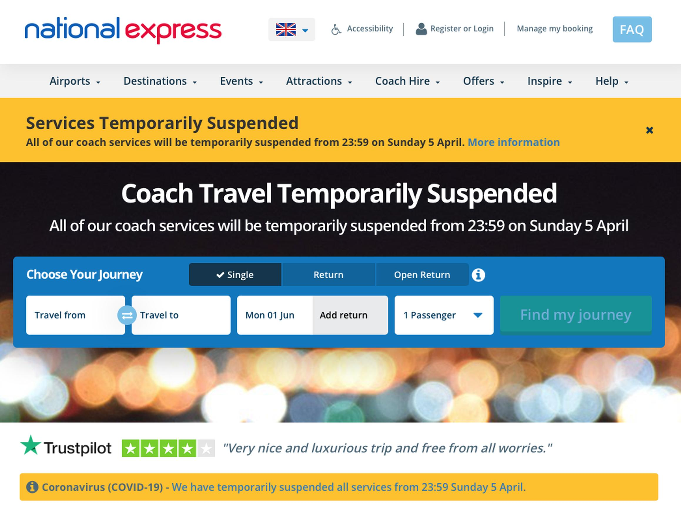 The National Express website