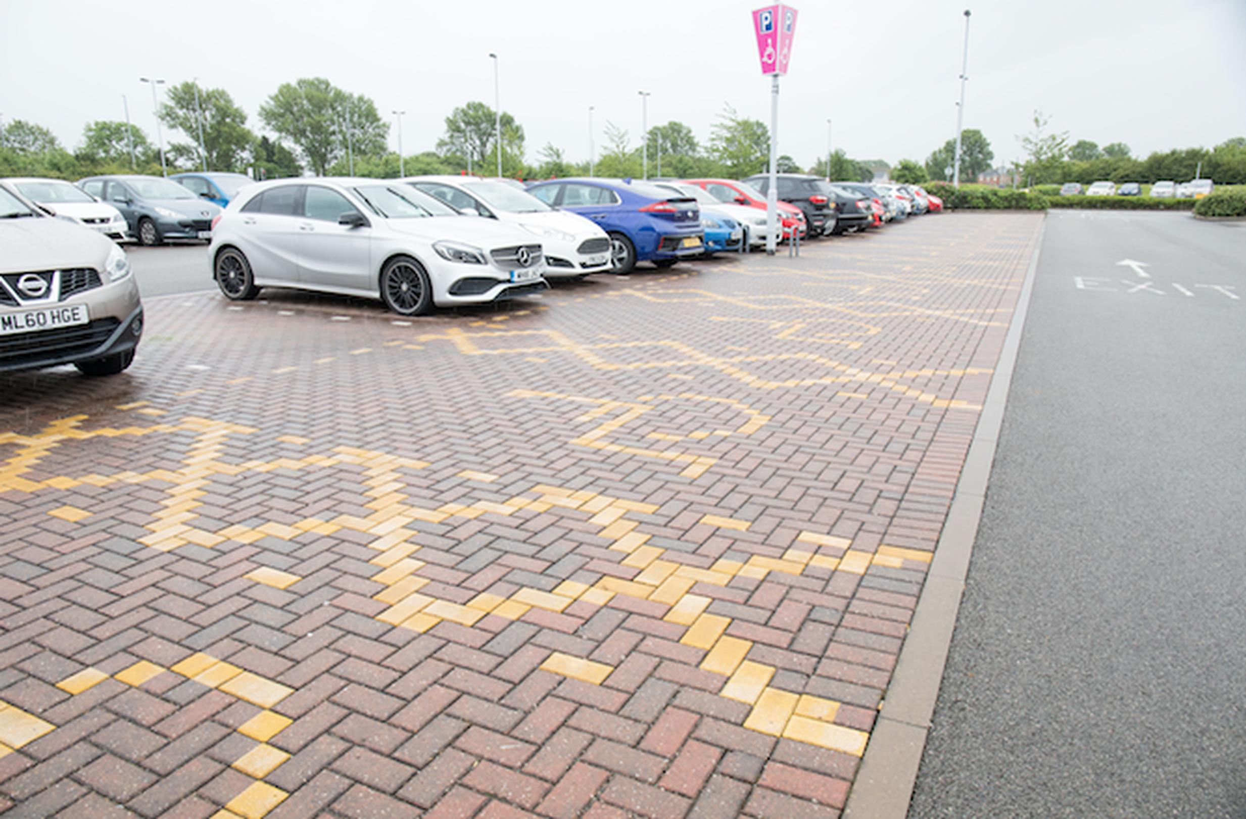 Paving has been used to demarcate parking for  people with disabilities at the Enderby P&R site in Leicester