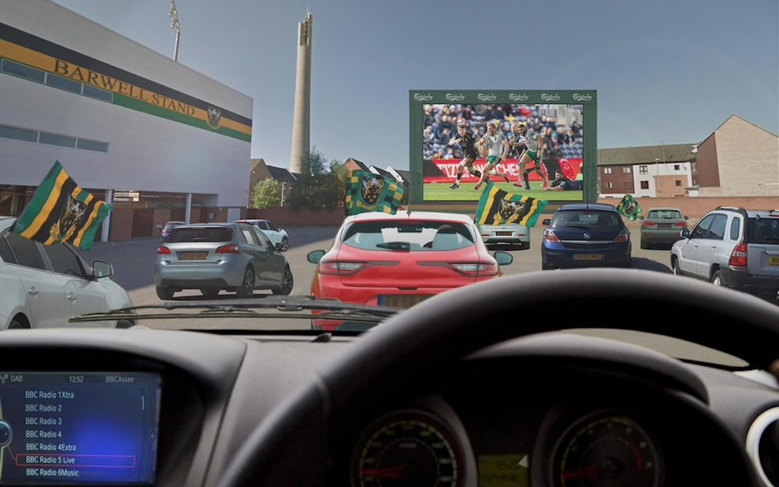 Concept art for drive-in rugby matches at Franklin Gardens (Bearfoot Graphics)