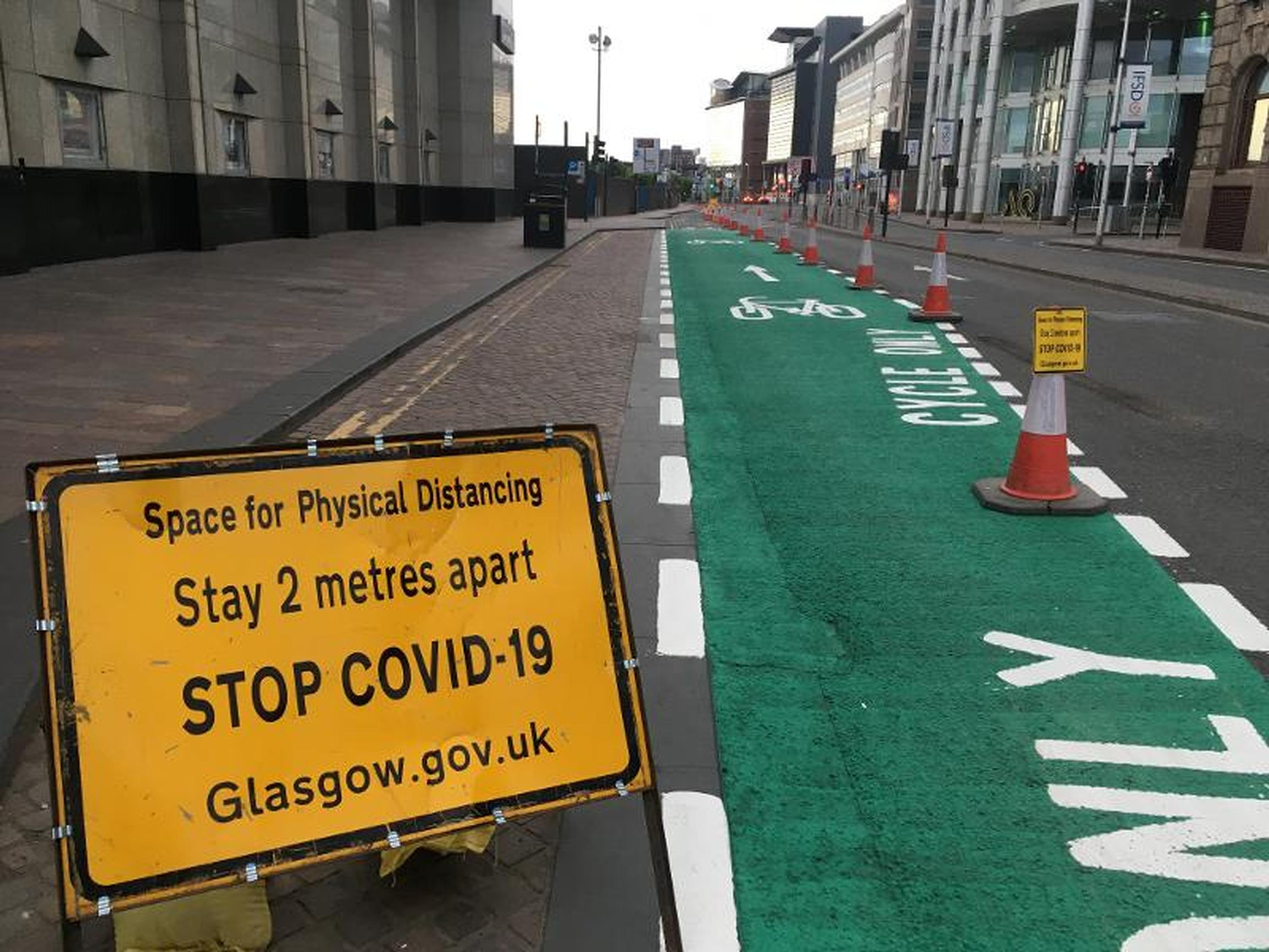 Glasgow completes emergency cycle lane