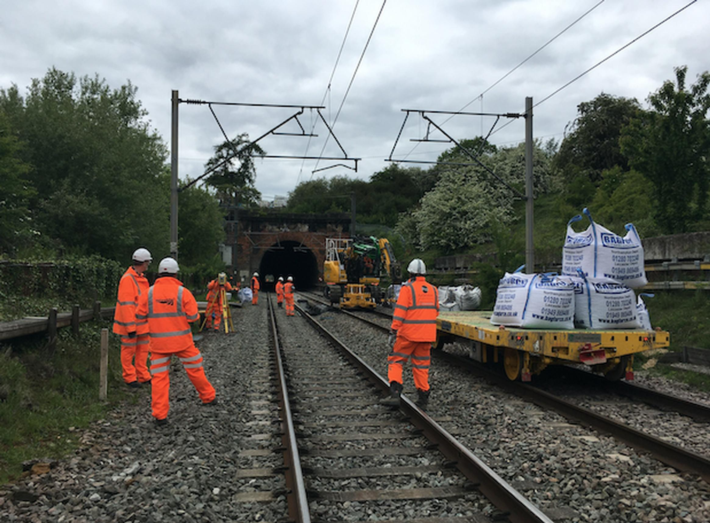Workers carried out essential repairs on the Kilsby Tunnel