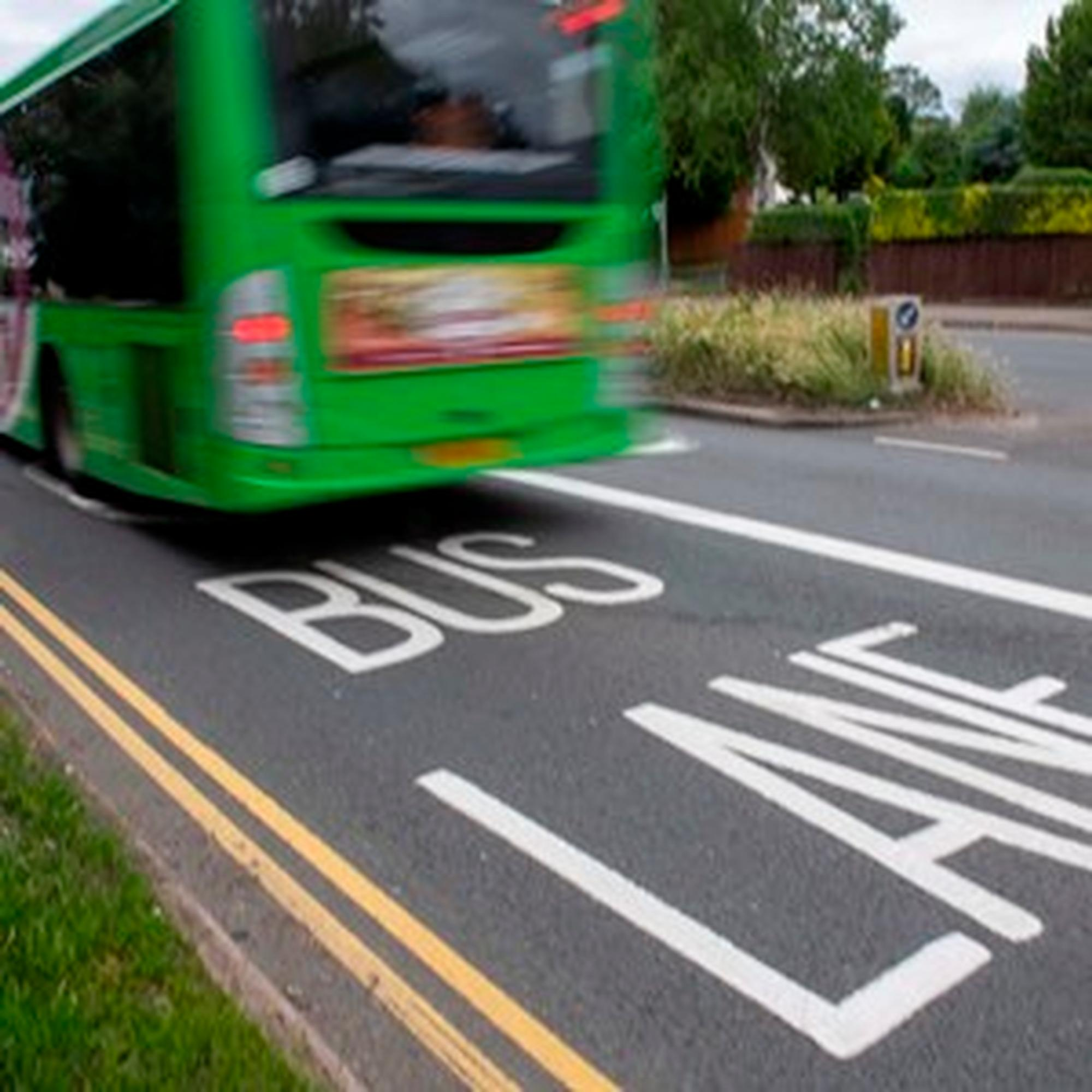 A bus lane in Leicester