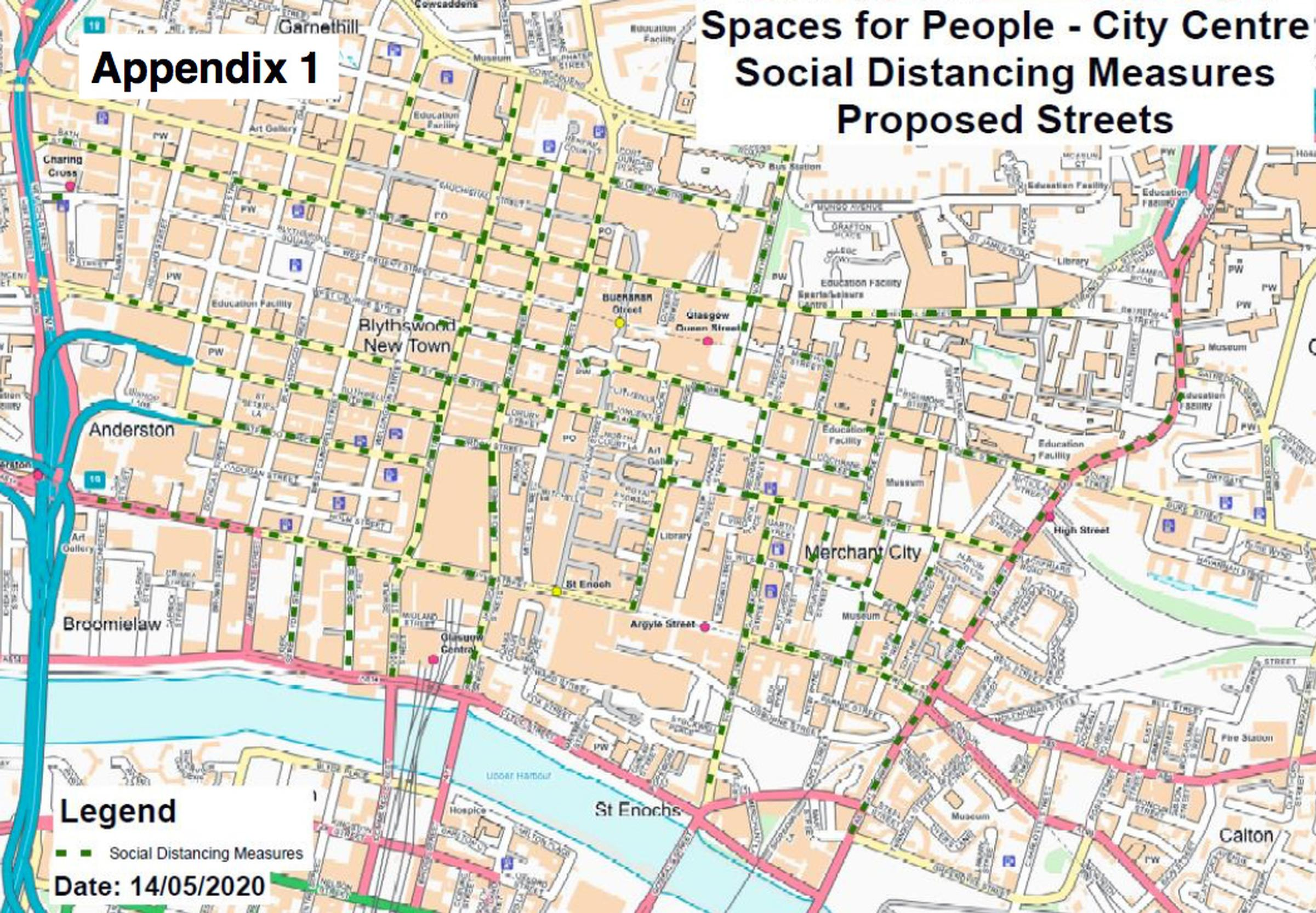 Glasgow's city centre: social distancing measures will be installed on the green and yellow streets