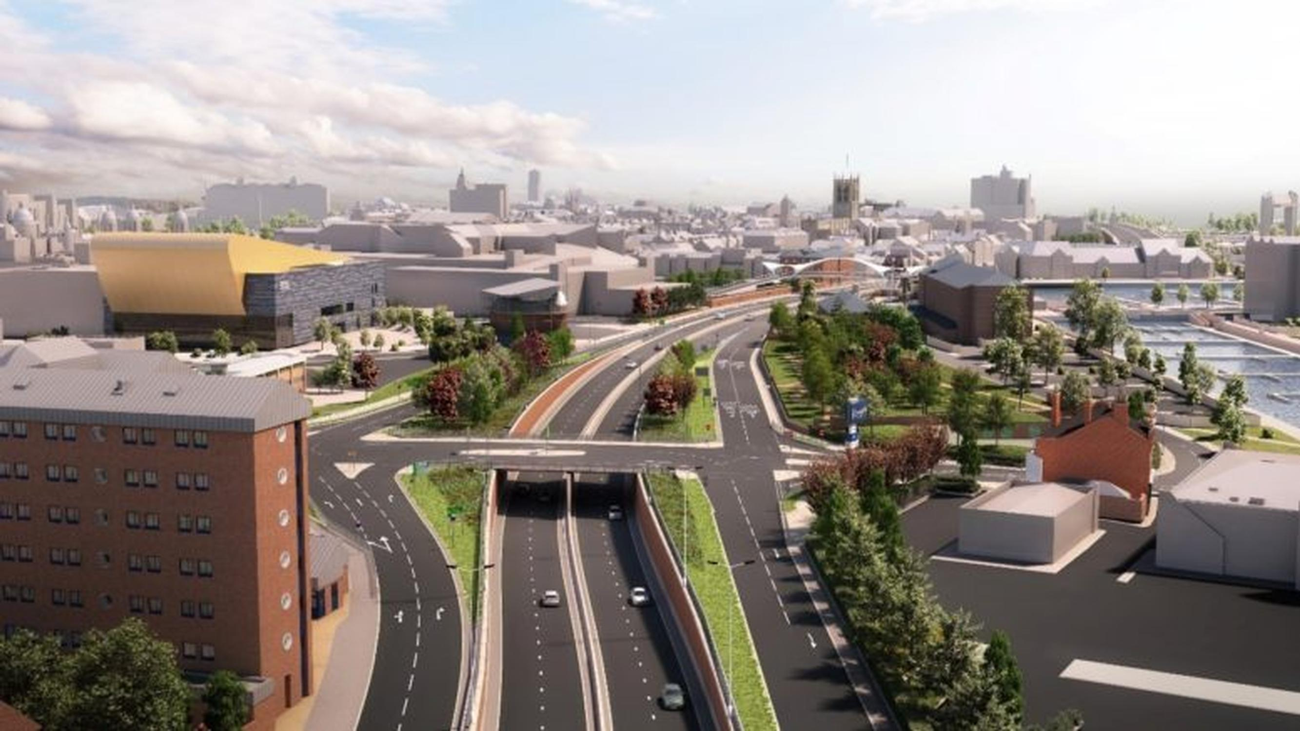 The planned Hull A63 Castle Street upgrade