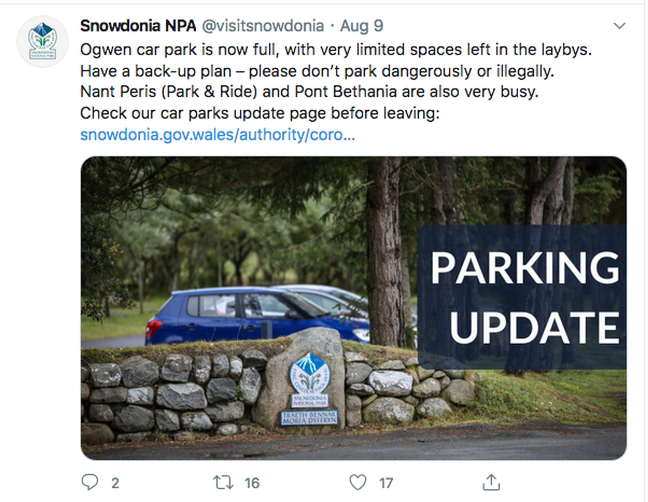 Beauty spots such as Snowdonia are attracting `staycationers`, but will the tourists find a parking spot?