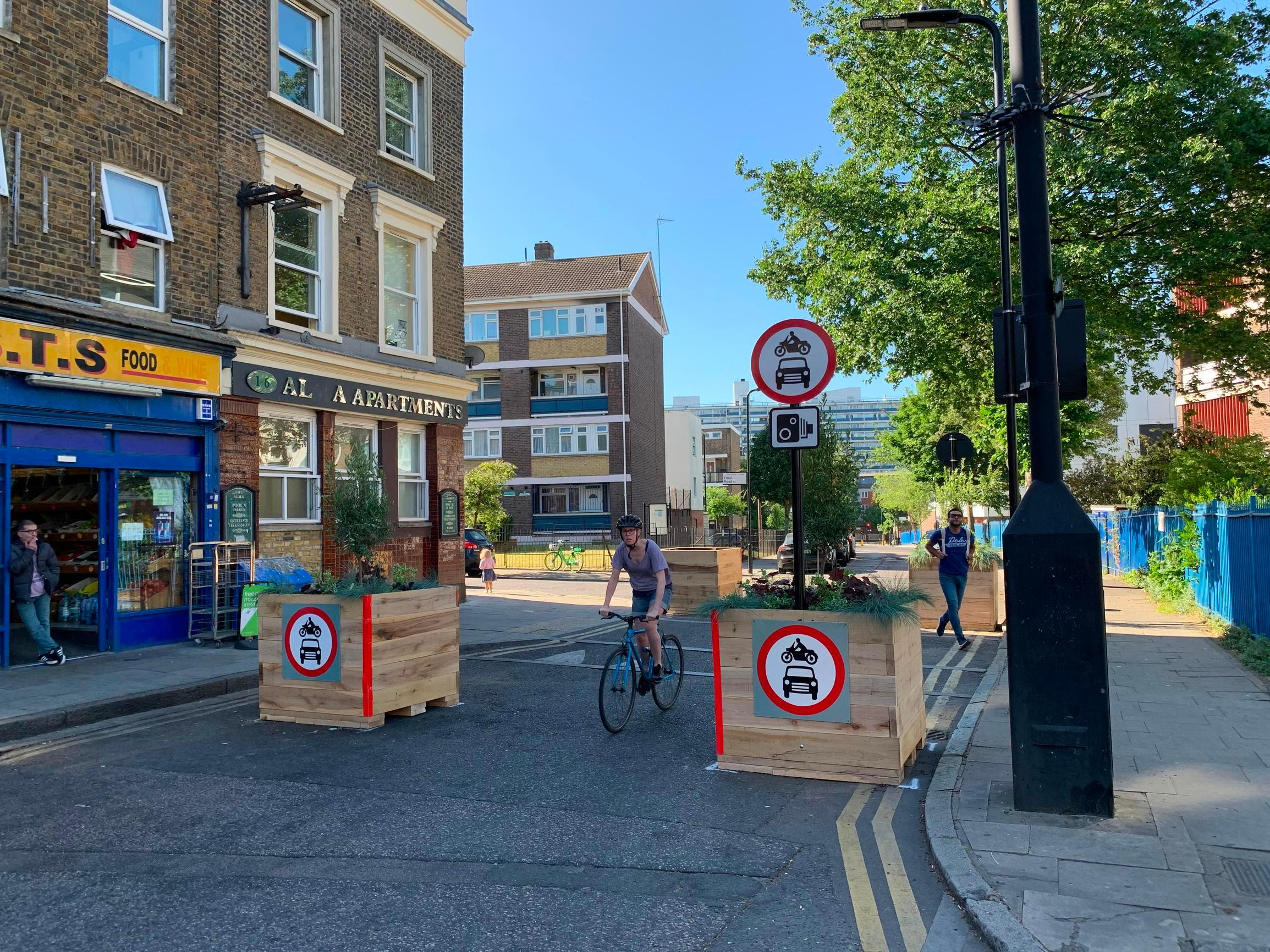 A modal filter as part of a low traffic neighbourhood (LTN) scheme in the London Borough of Hackney. LTNs continues to stir emotions, see letters from John Sutton, Terry Hudson, and Rik Andrew