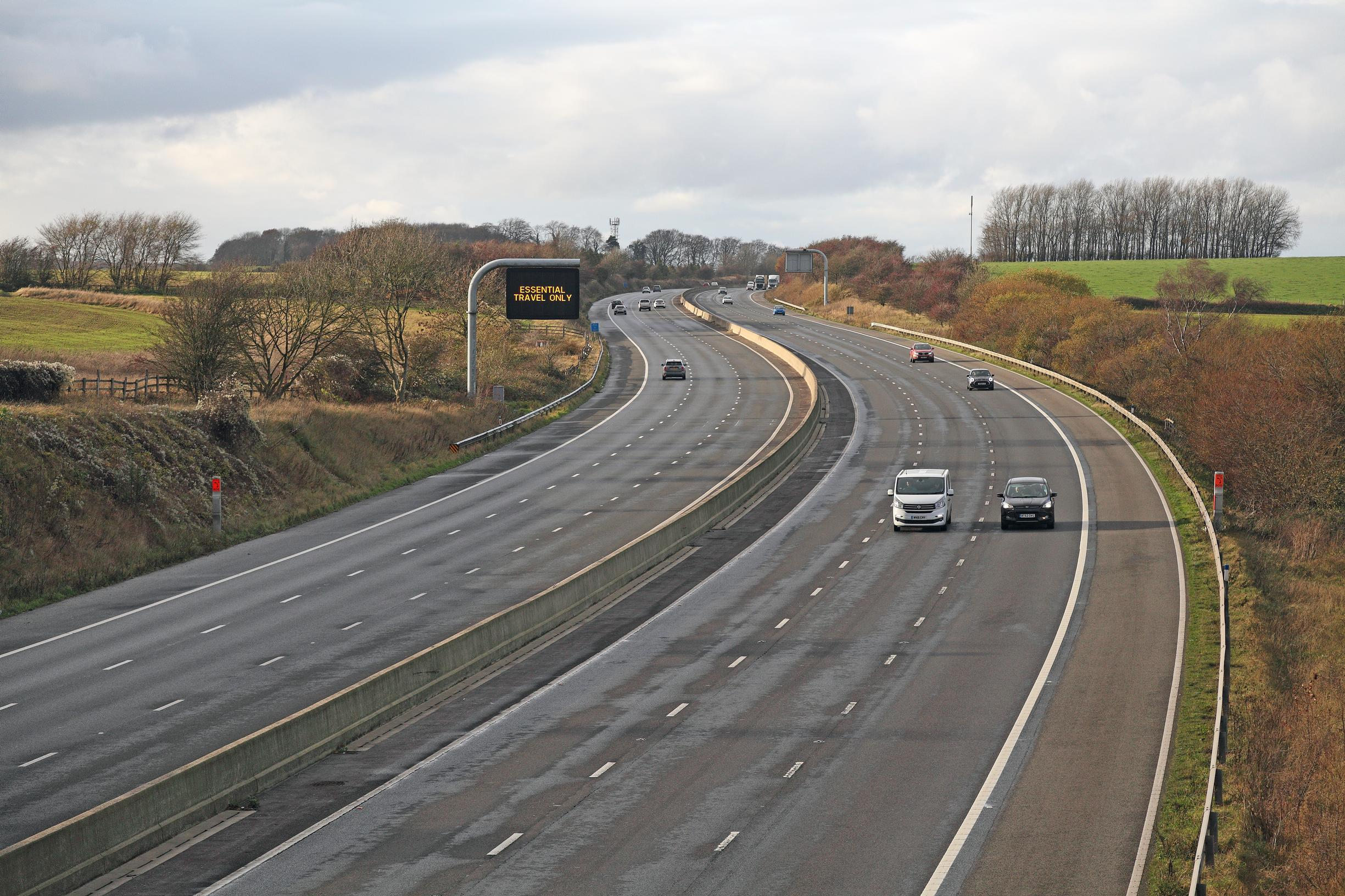 The M4 in Wiltshire on 15 November