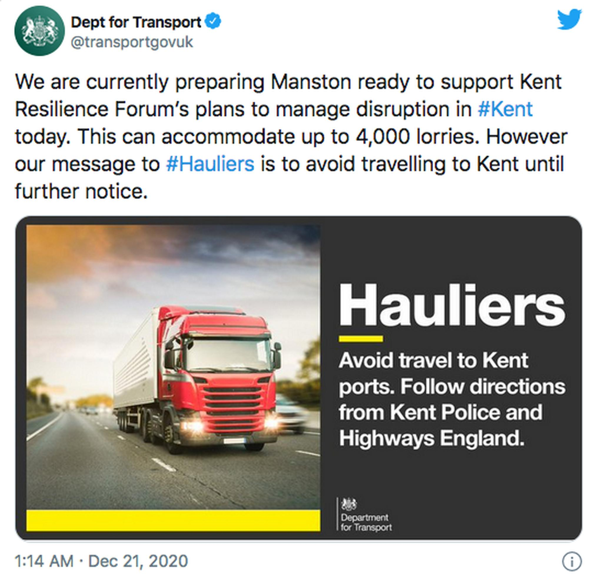 The DfT used social media to alert HGV drivers to the latest developments regarding travel and parking options in Kent